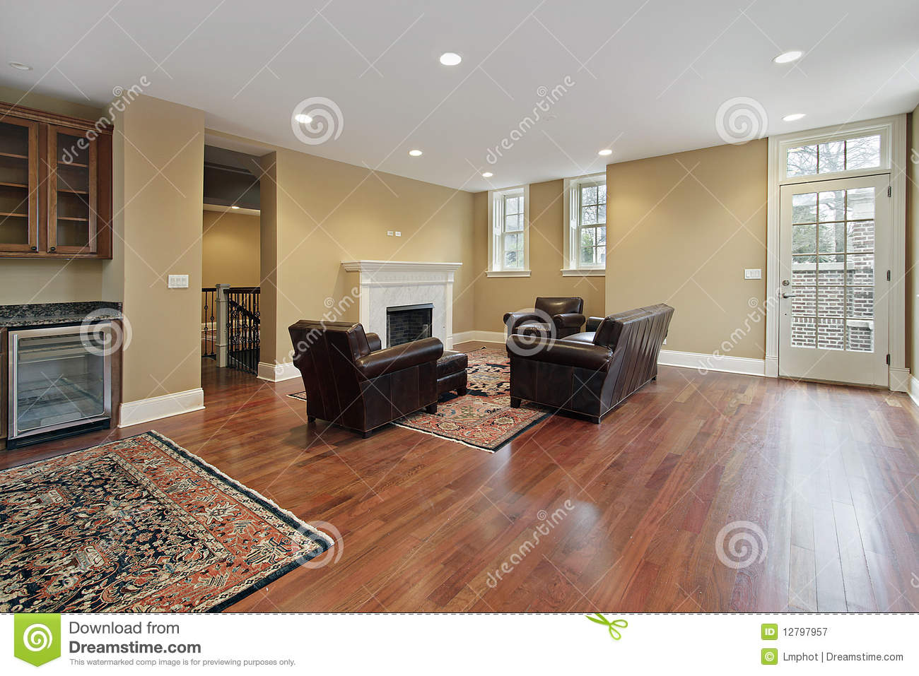 Foyer with cherry wood floors royalty free stock photography ...