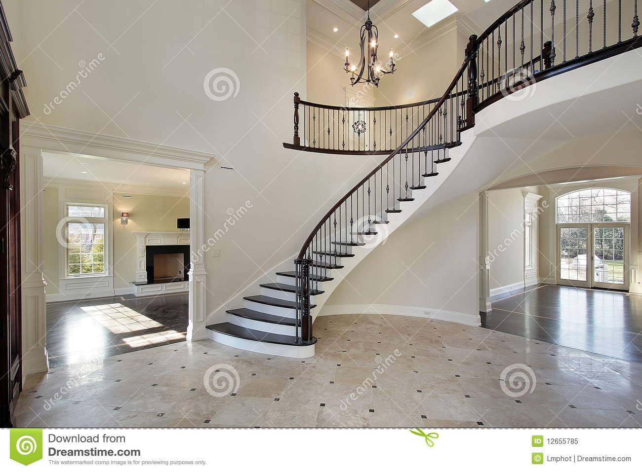 Foyer with circular staircase royalty free stock photo   image ...