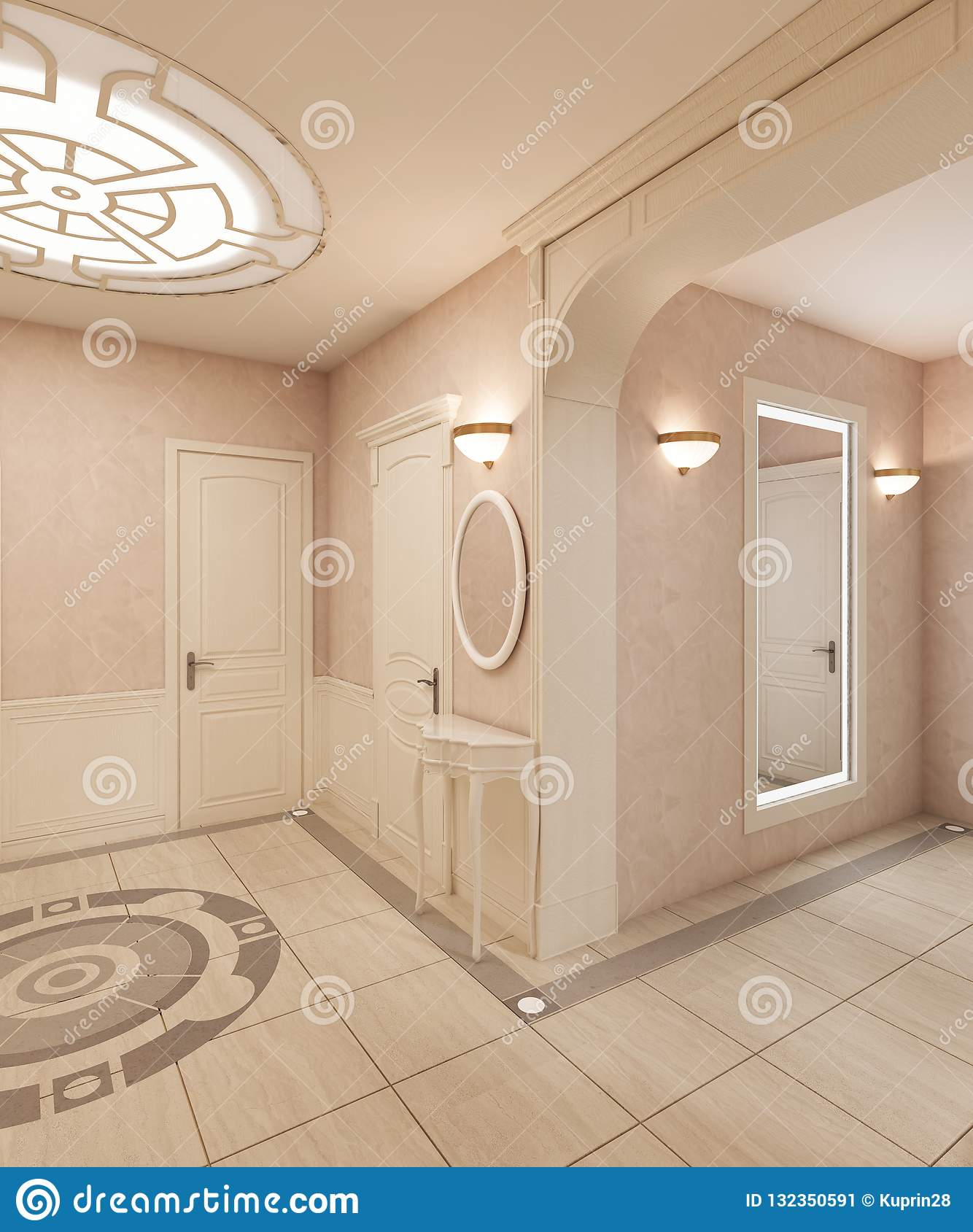 The Foyer Is In Classical Style With A Marble Floor And Beige Wooden Squares On The Walls Built In Ceiling Light Stock Illustration Illustration Of Elegance Entrance 132350591