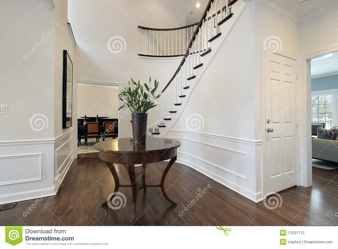 Foyer Curved Staircase Decor : Foyer with curved staircase stock photo image