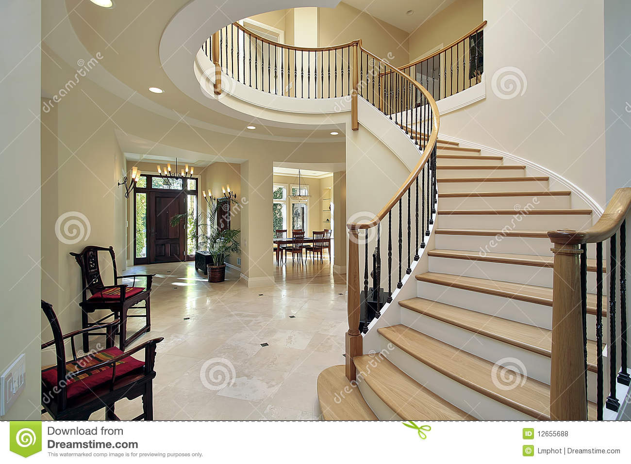 House Foyer Xl : Foyer with curved staircase stock photo image of estate