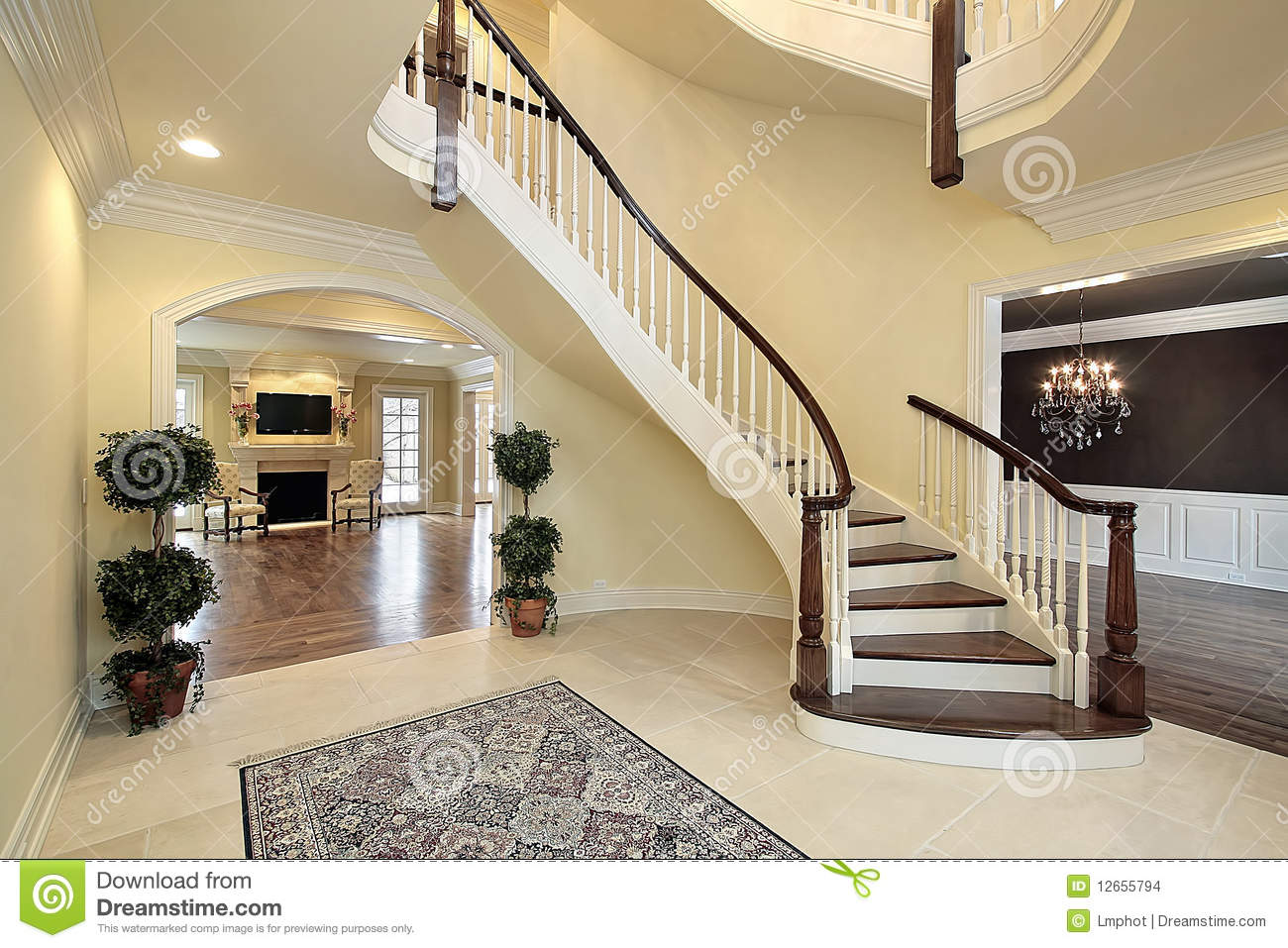 Foyer With Spiral Staircase : Foyer with curved staircase stock images image