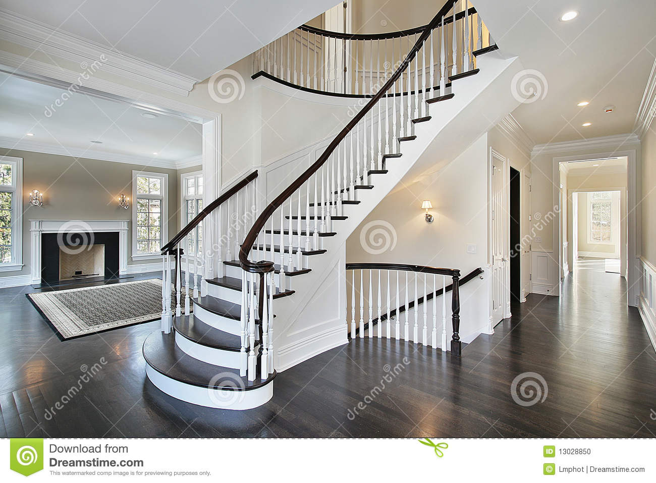 Foyer With Curved Staircase Stock Photo - Image: 13028850