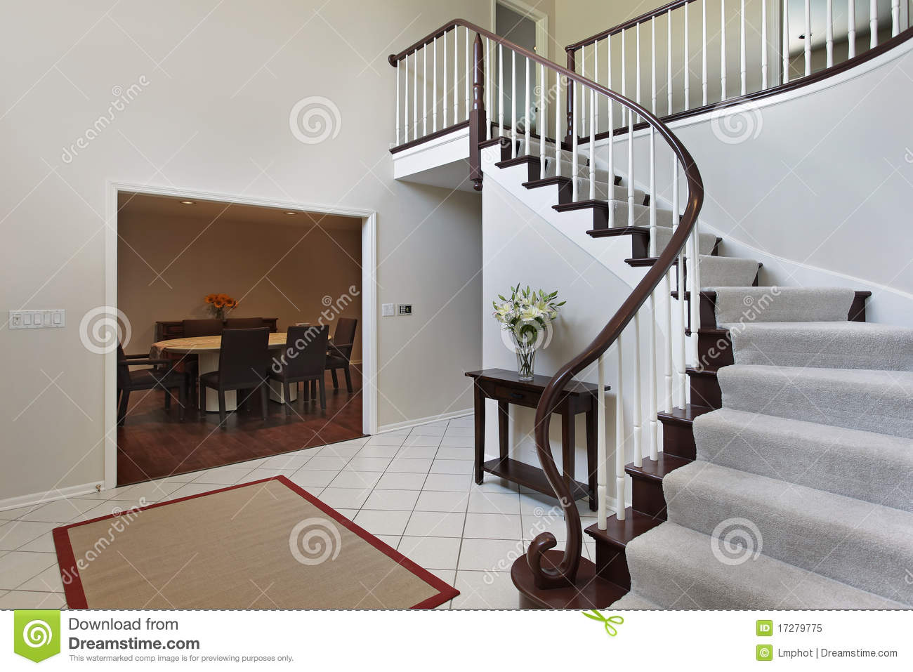 Foyer Clipart : Foyer with curved staircase royalty free stock photo