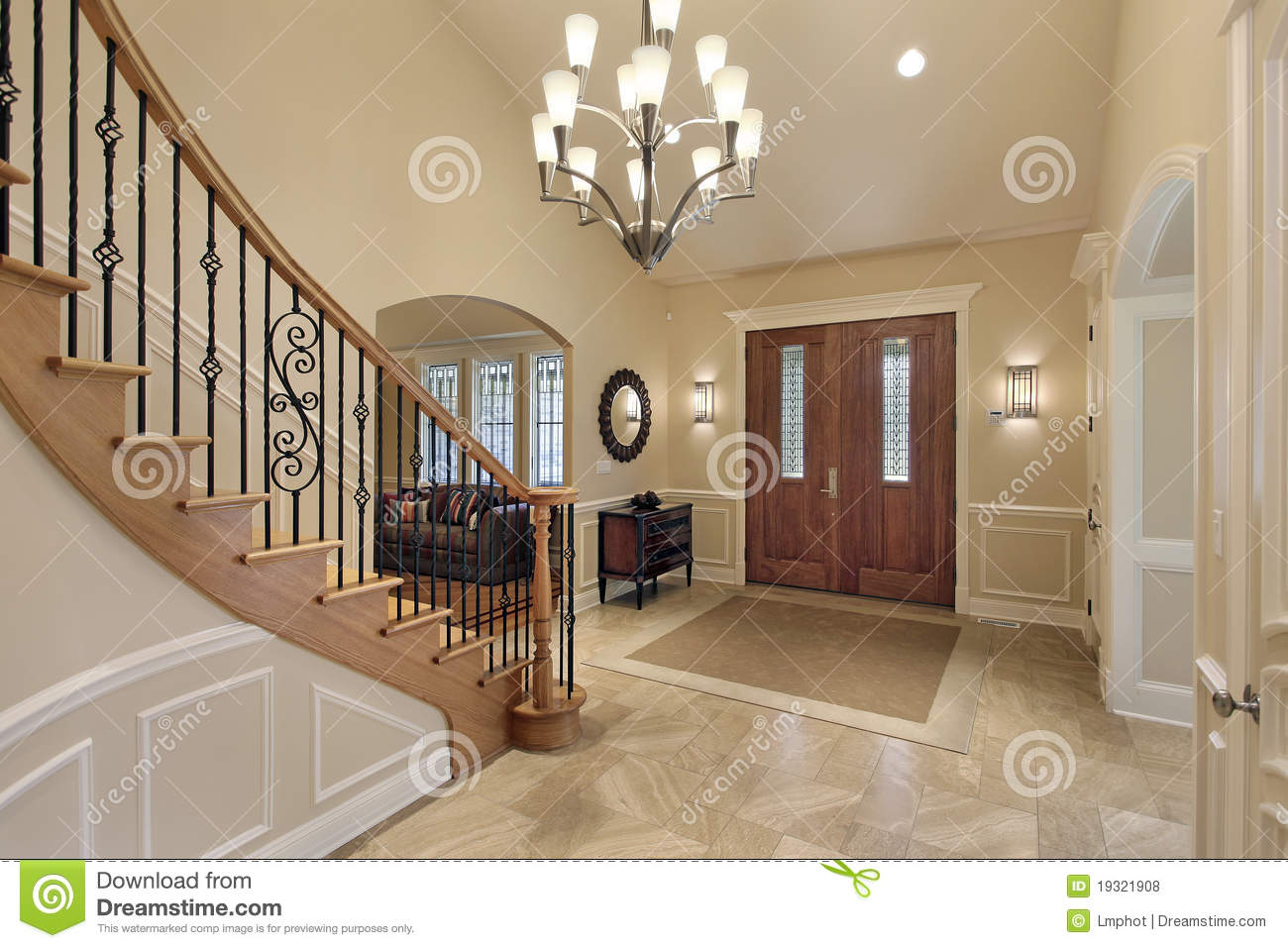Foyer Staircase Images : Foyer with curved staircase royalty free stock photos