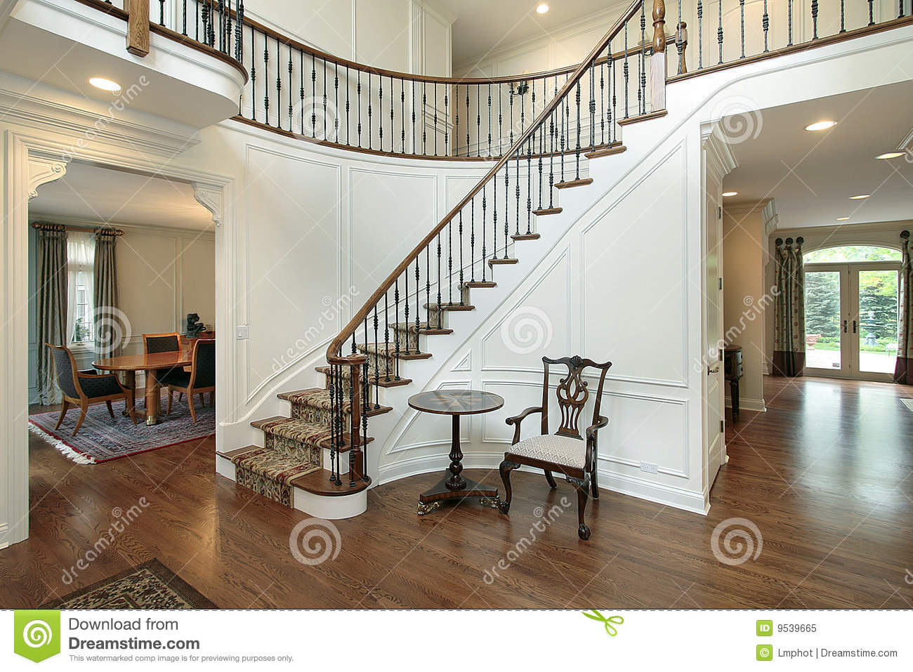 Foyer Clipart : Foyer with curved staircase stock photography