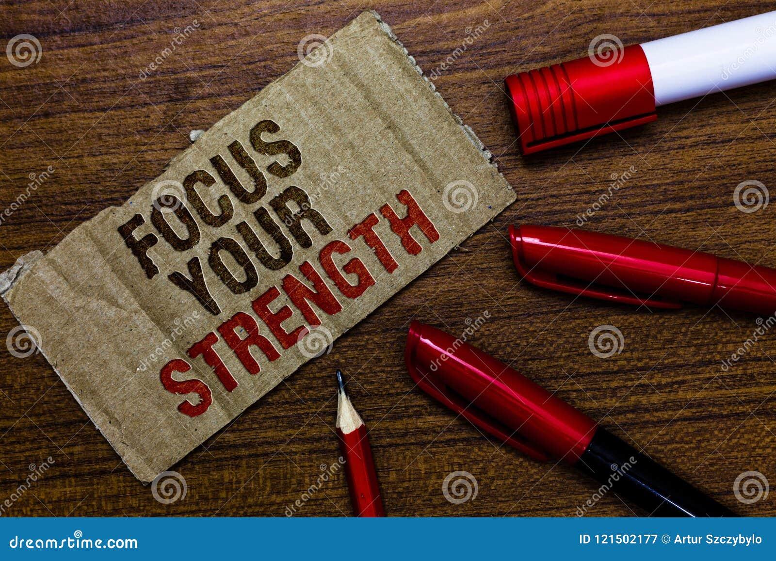 Foyer des textes d écriture de Word votre force Le concept d affaires pour des qualifications Improve travaillent aux points de f