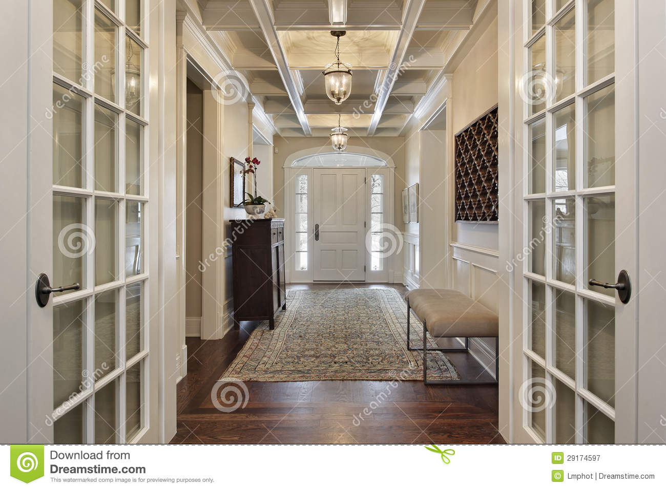 Foyer Clipart : Foyer with french doors royalty free stock photography
