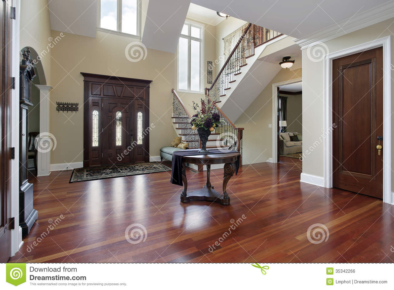 Entrance Foyer And Circulation In House : Foyer in luxury home stock photo image of design