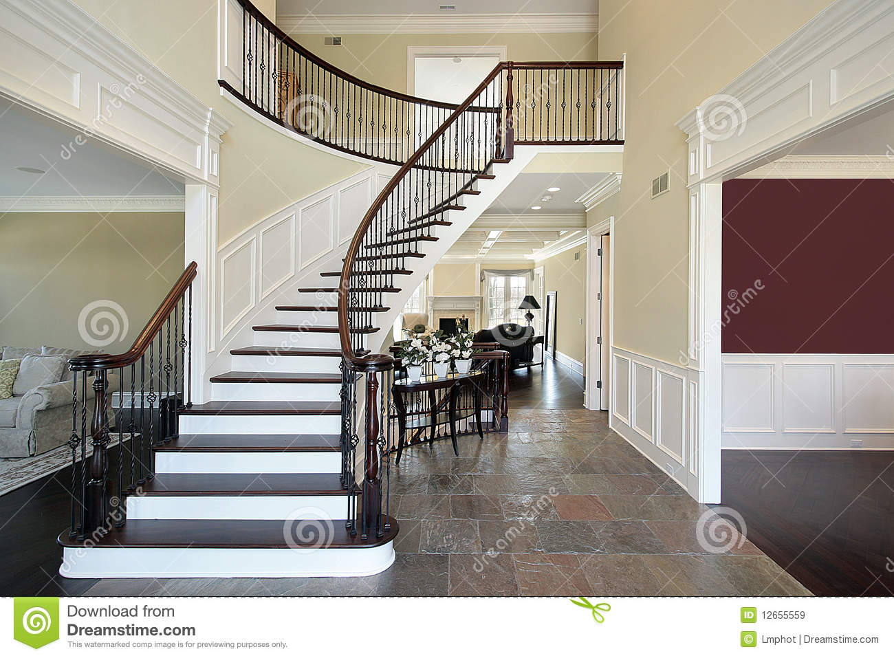 Open Foyer Floor Plan : Foyer in open floor plan stock image of home