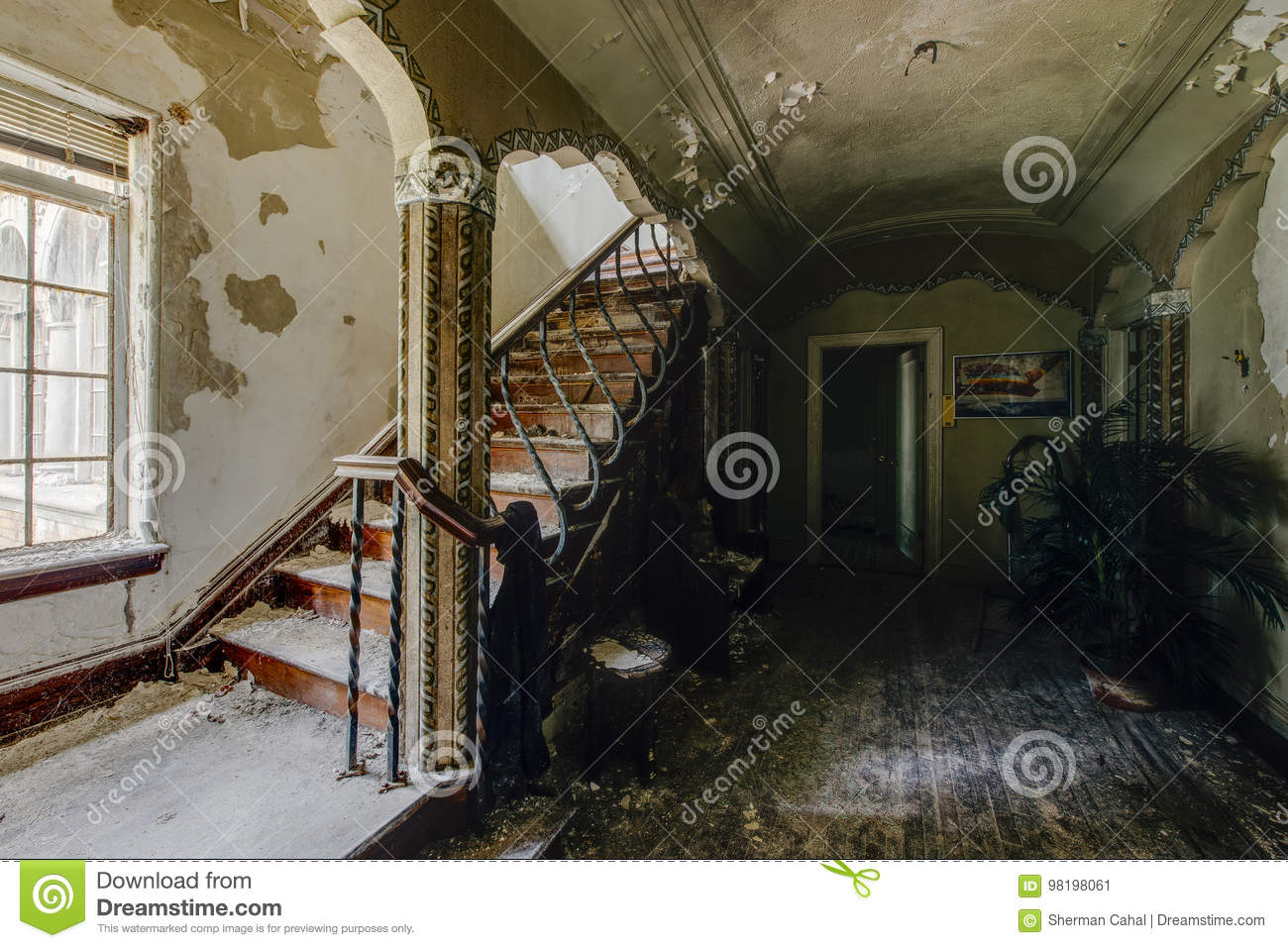 Download Foyer With Ornate Staircase   Abandoned Mansion Stock Image    Image Of Melancholy, Liberty