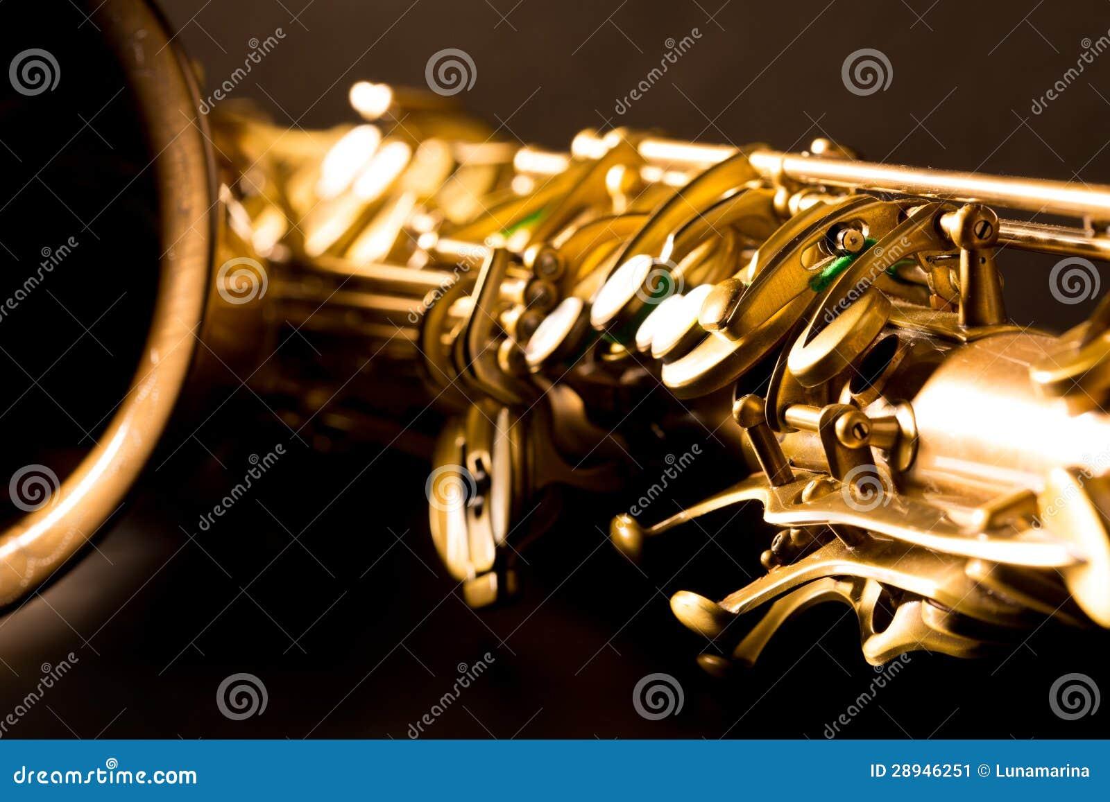 Foyer sélectif de saxophone d or de saxophone ténor macro