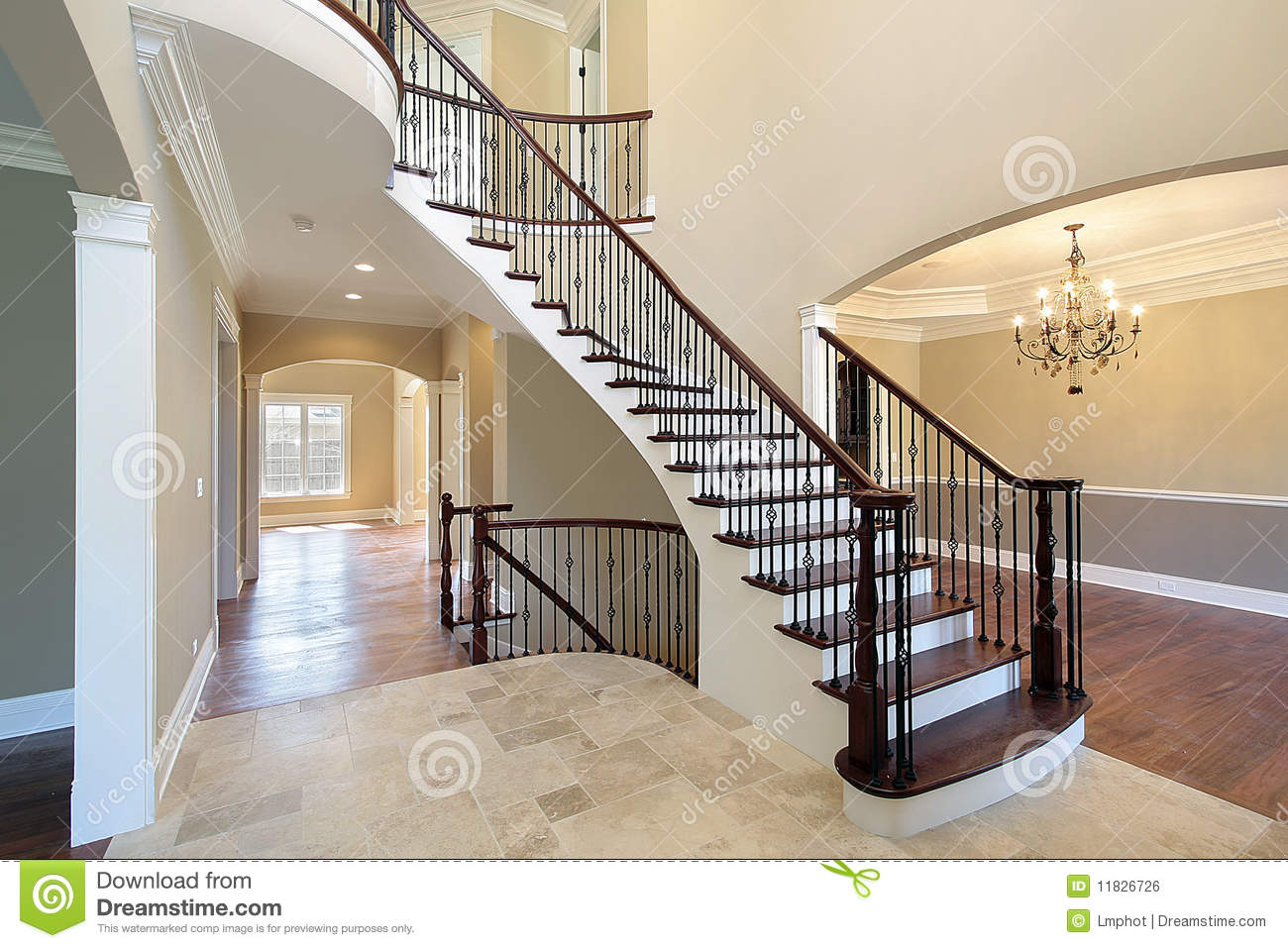 House Foyer Xl : Foyer with spiral staircase stock photo image of couch