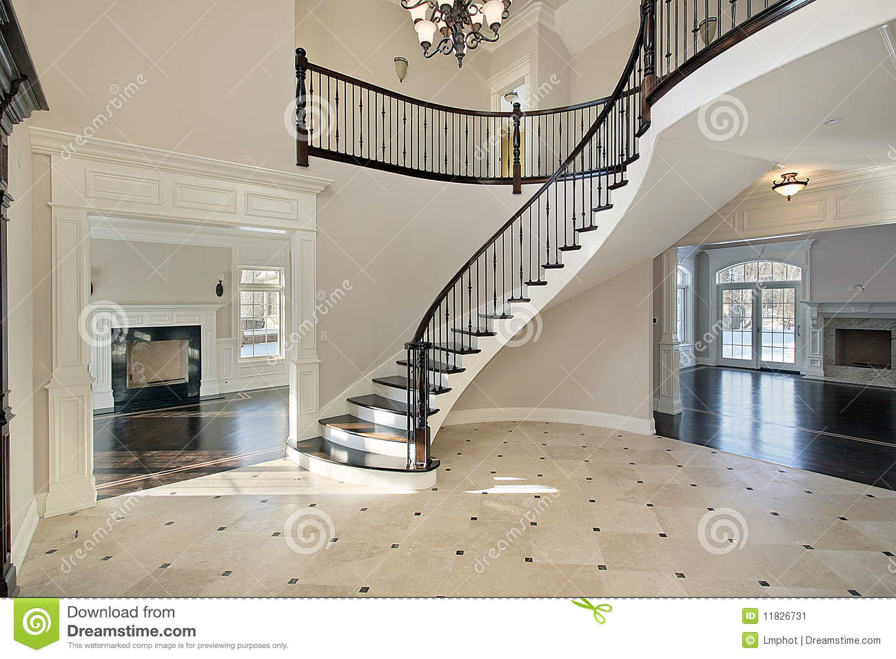 House Foyer Xl : Foyer with spiral staircase stock image of