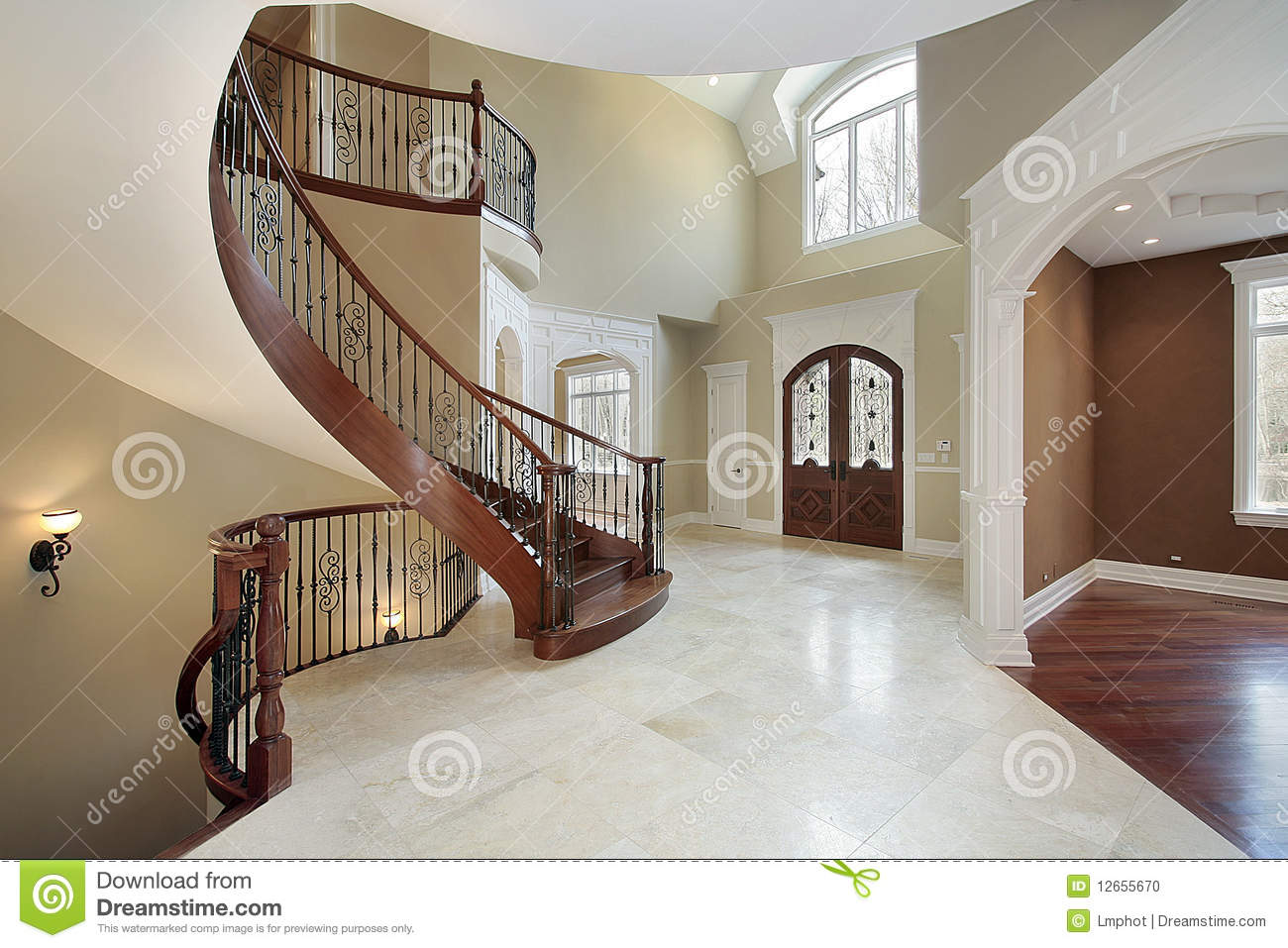 Foyer And Staircase In Luxury Home Stock Photo Image