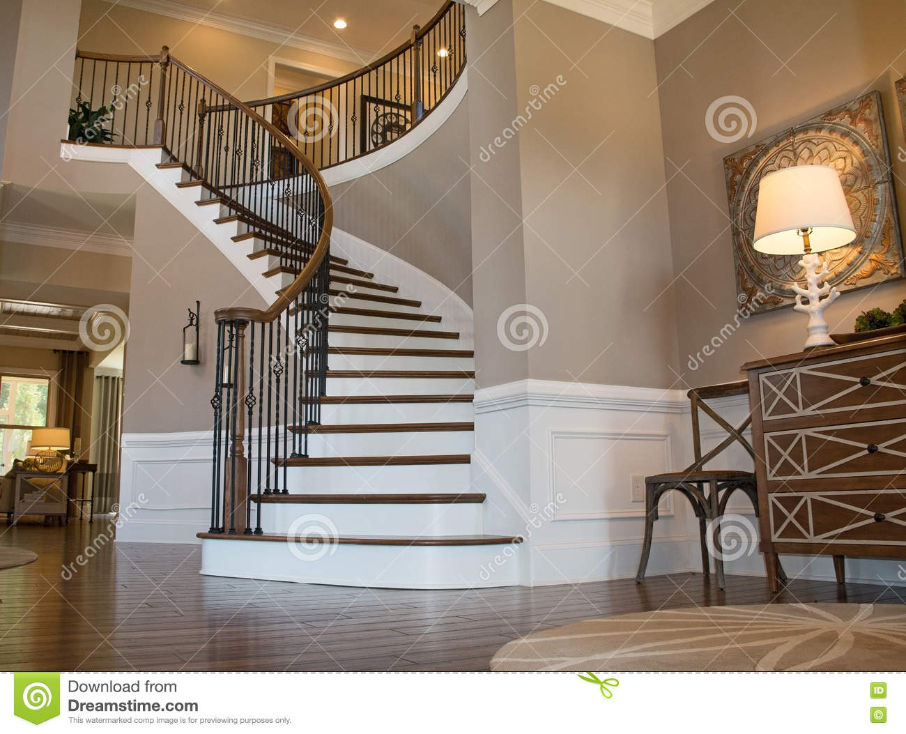 Foyer Stairs Review : Foyer stairs stock photo image of hardwood middleclass