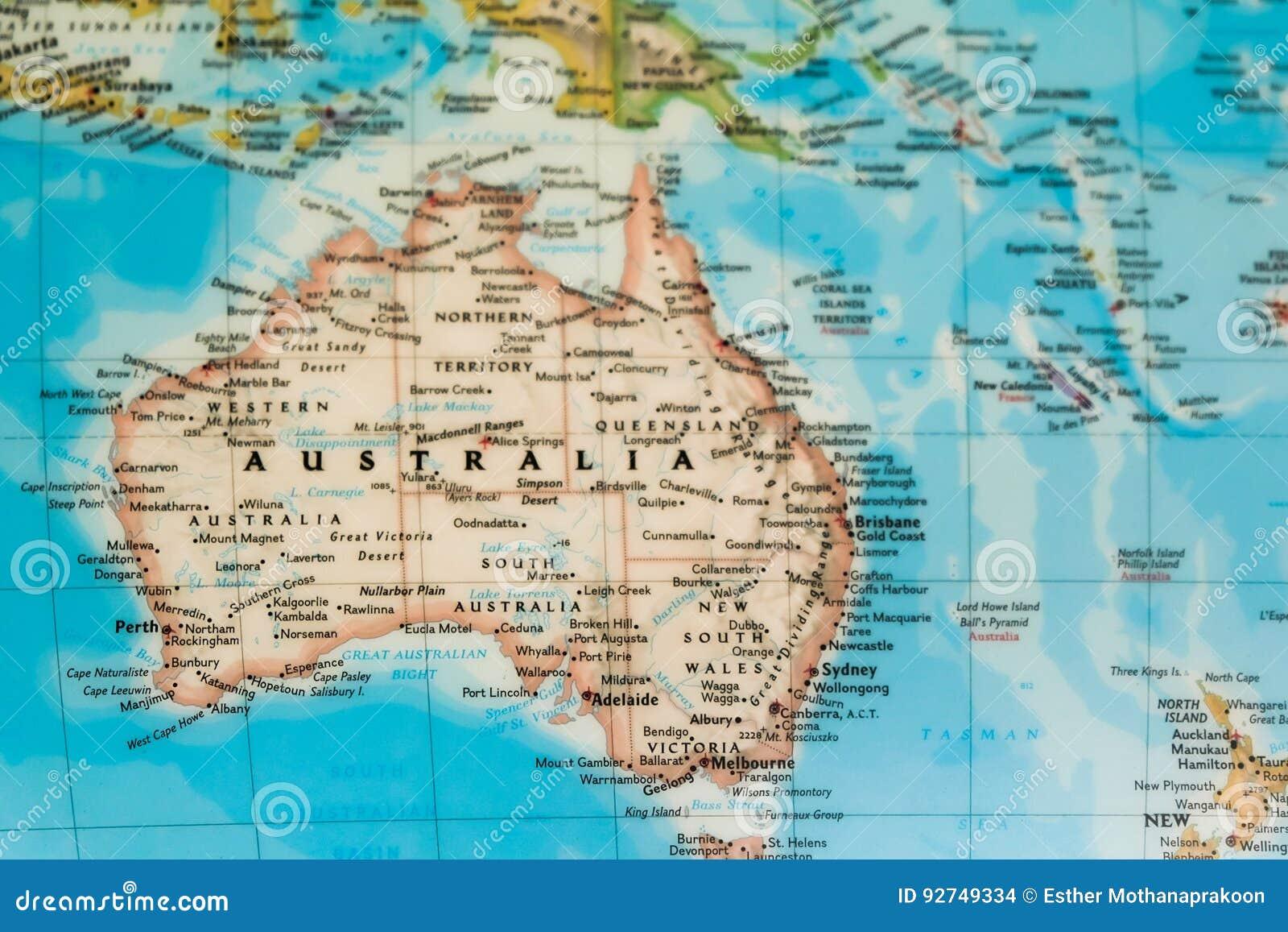 Australie carte du monde