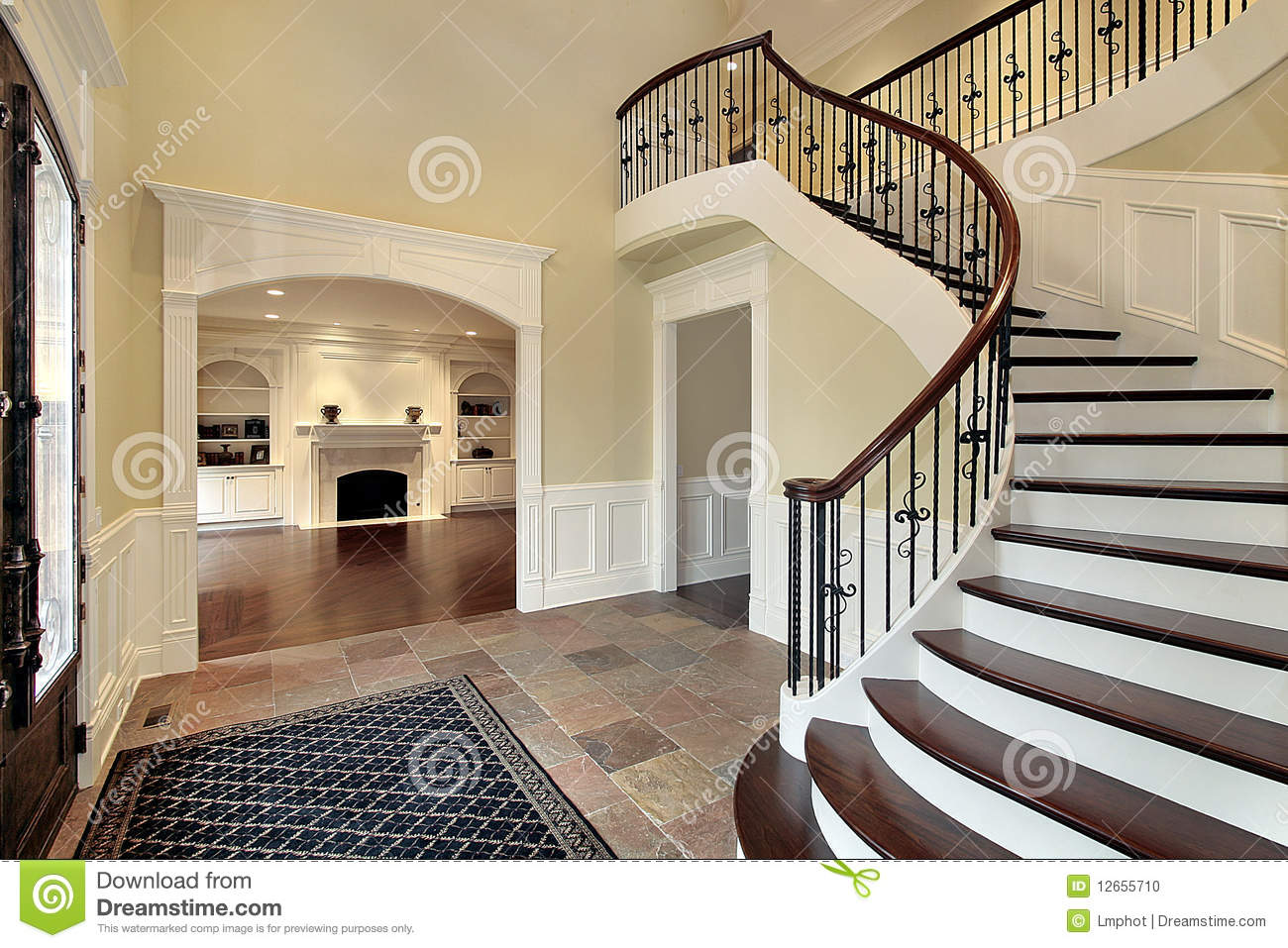 Foyer Into Room : Foyer with view into living room stock photo image