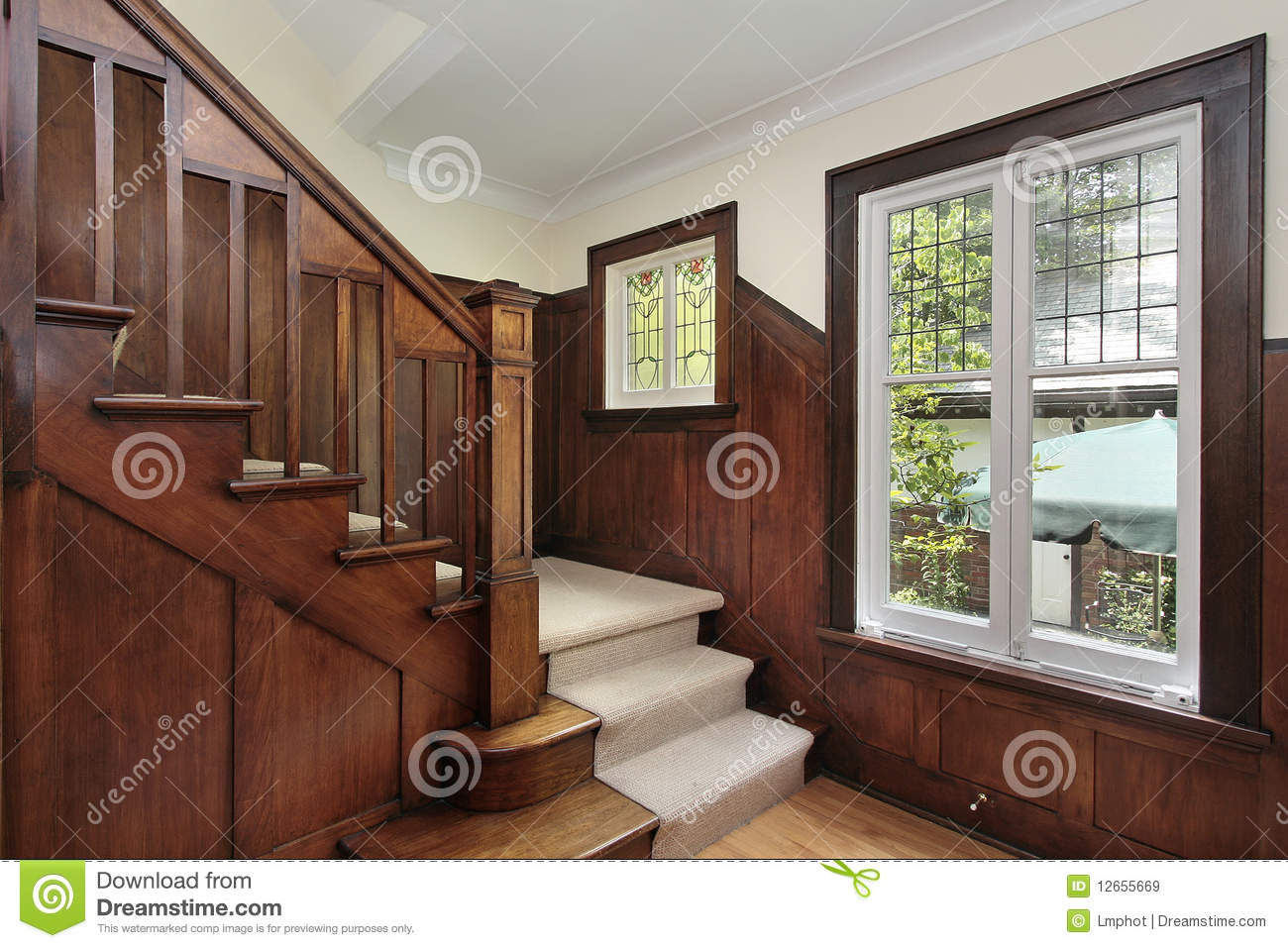 Foyer Window Cost : Foyer with wood paneling stock image of entryway