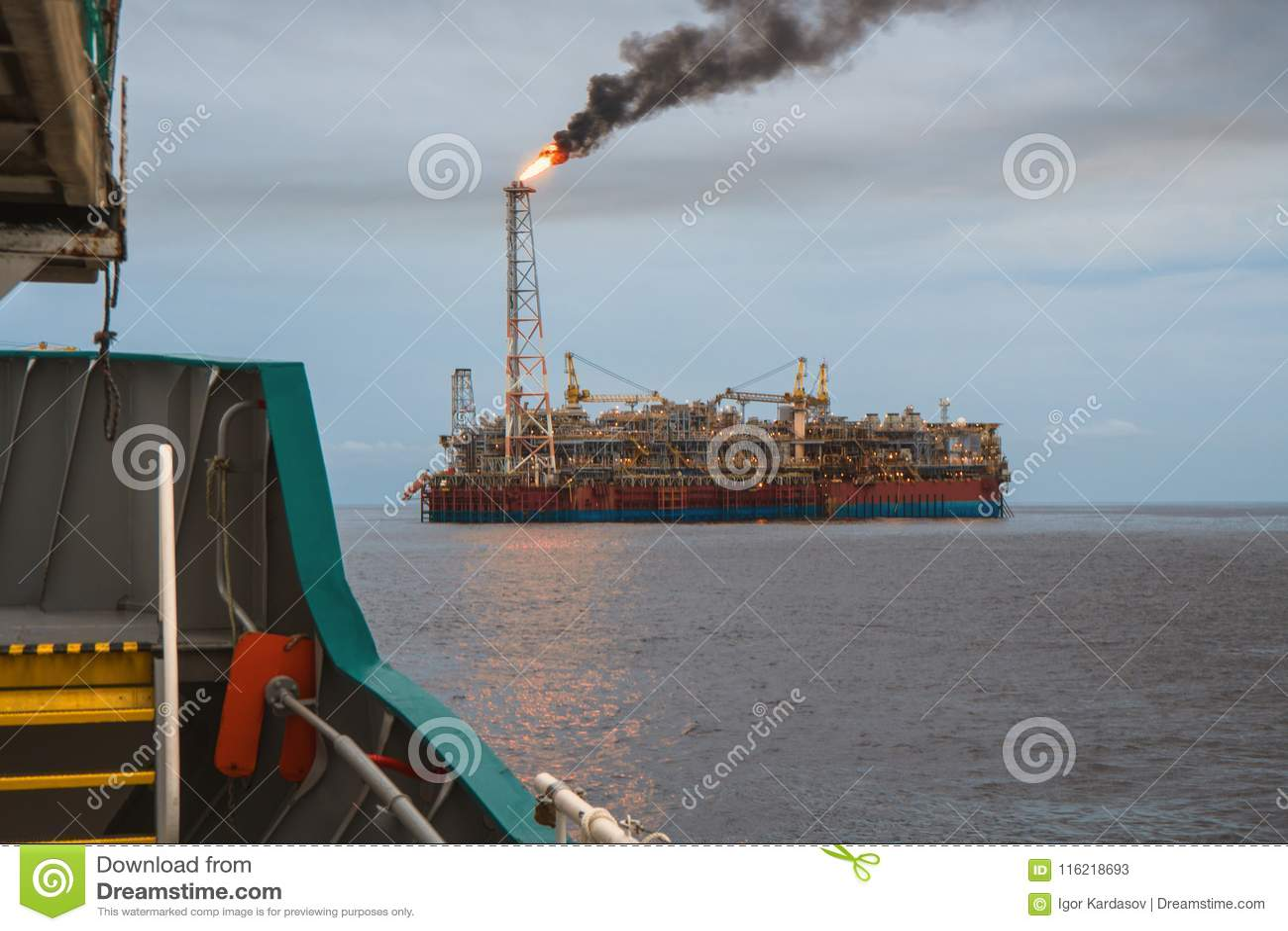 FPSO Tanker Vessel Near Oil Rig Platform  Offshore Oil And