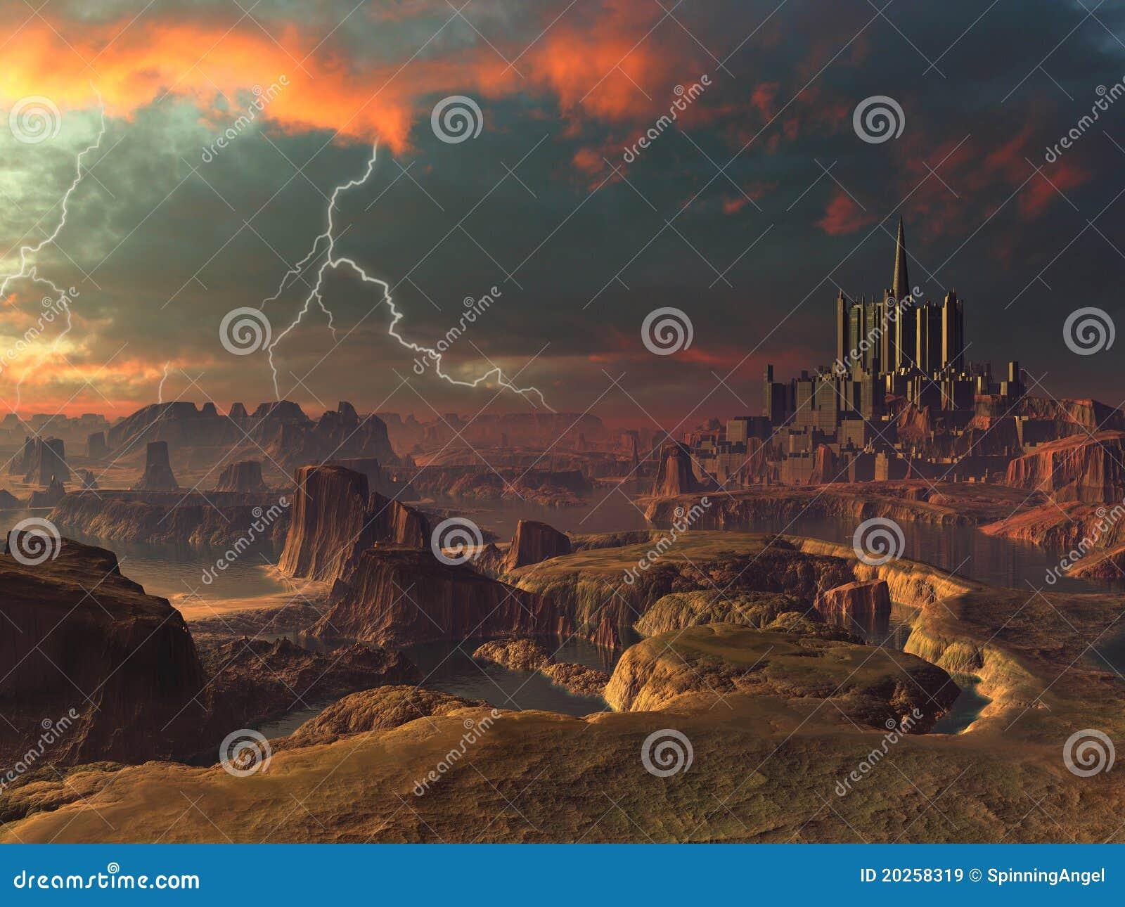 Främmande forntida stadsliggandeblixt över storm