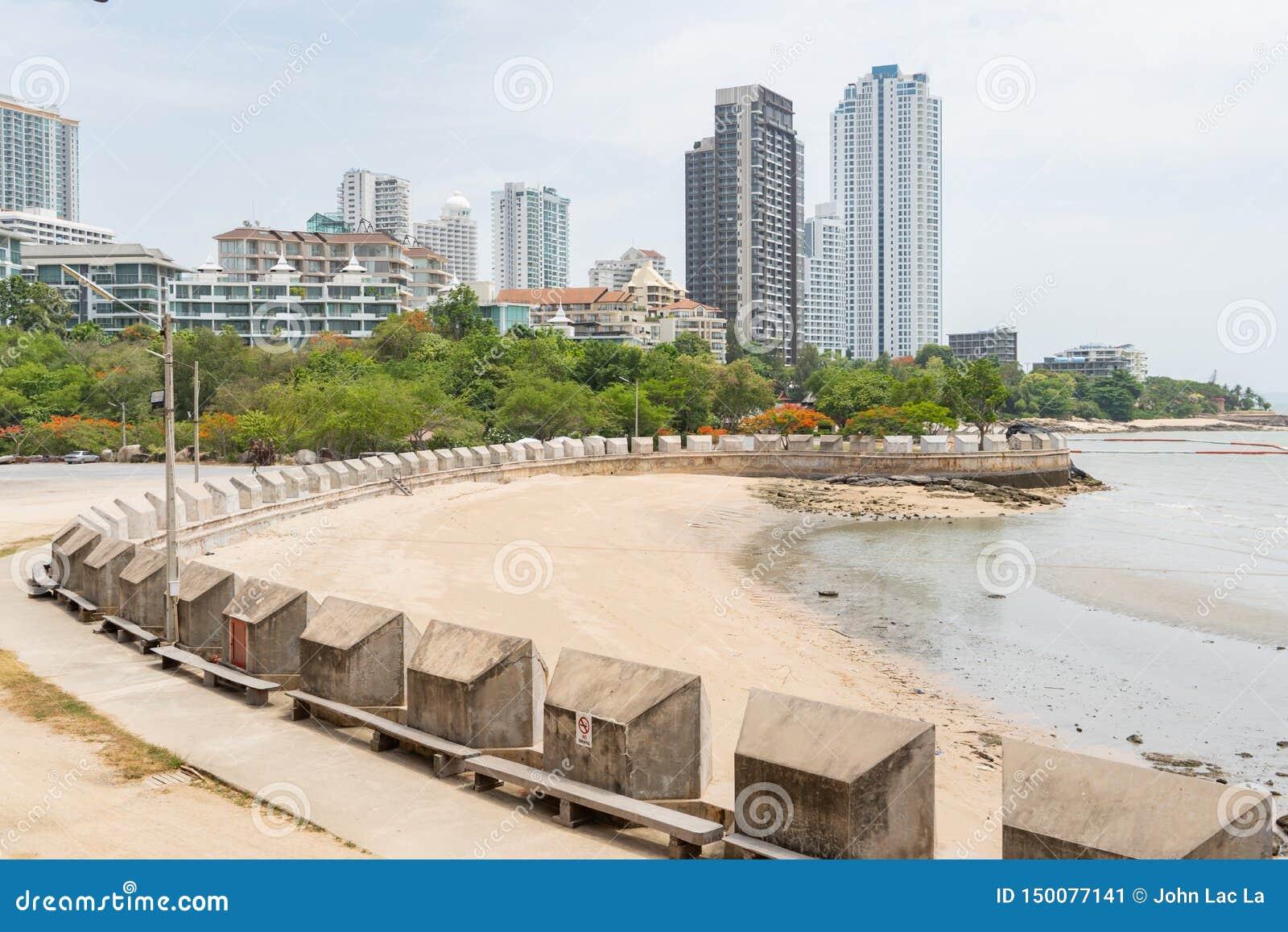 Främre landskap för strand med grön skogstadshorisont i bakgrund under dagen