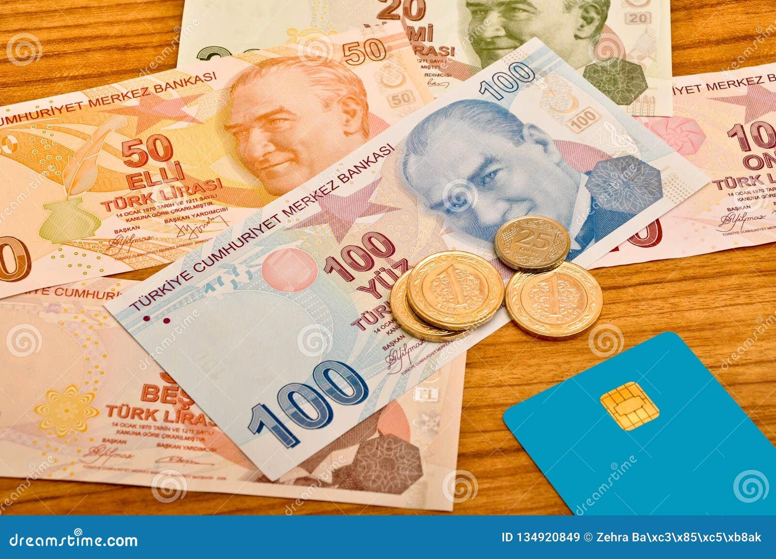 Främre sikt för olika sedlar för turkisk lira Mynt och kreditkort