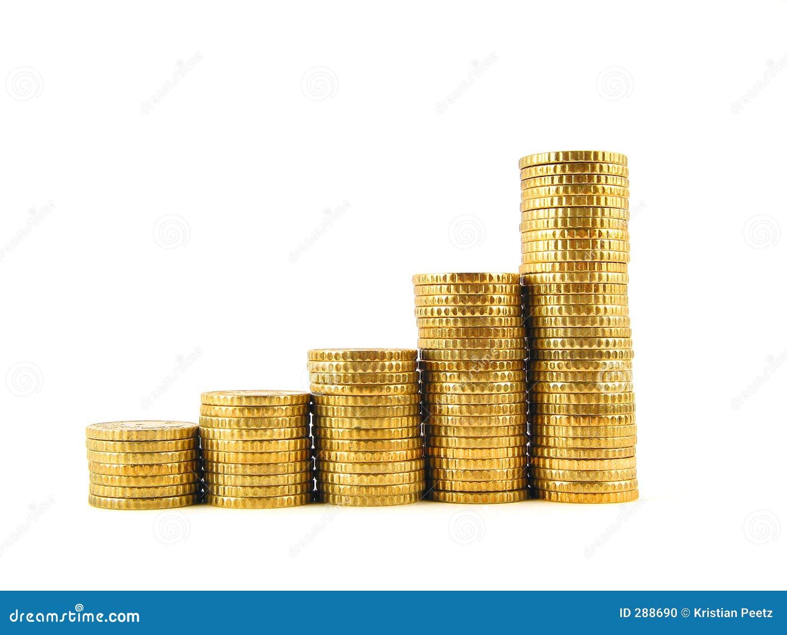 Främre vanlig stigande sikt för mynt