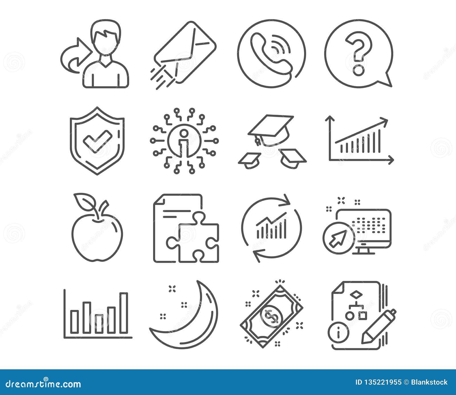 Frågefläck, kasthattar och strategisymboler Kolonndiagram, betalning- och algoritmtecken vektor