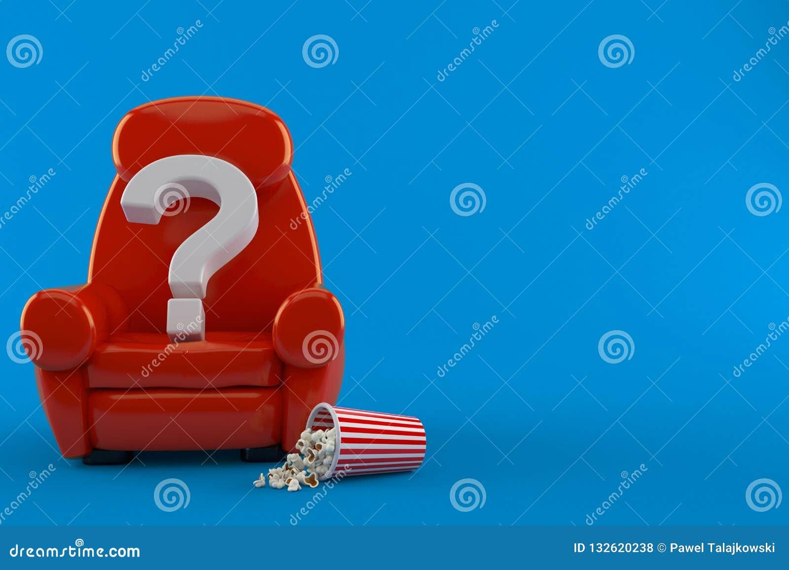 Frågefläck med teaterfåtöljen och popcorn