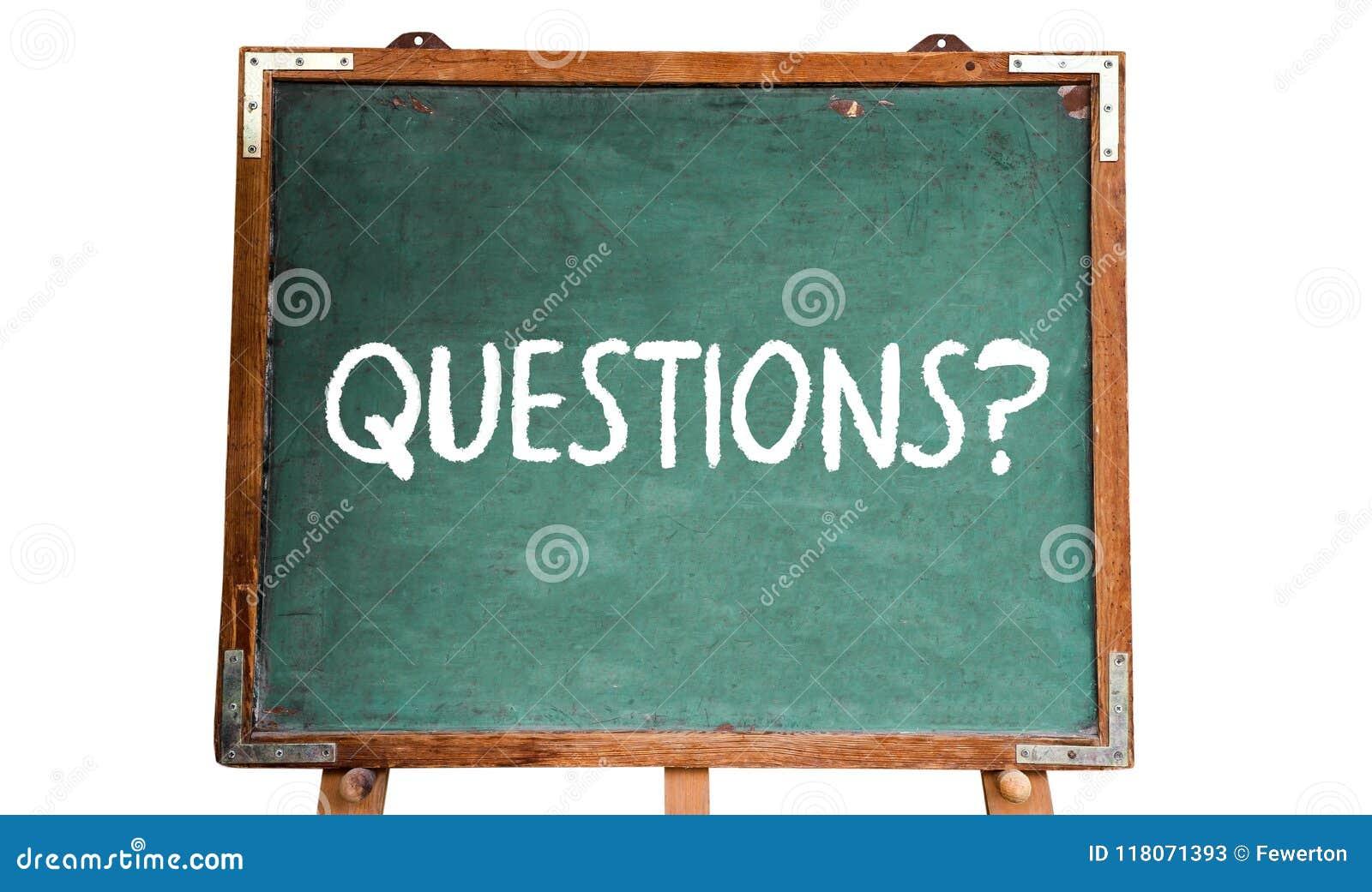 Frågor? smsa ordmeddelandet i vit krita som är skriftlig på svart tavla eller en svart tavla för grön gammal grungy tappning en t