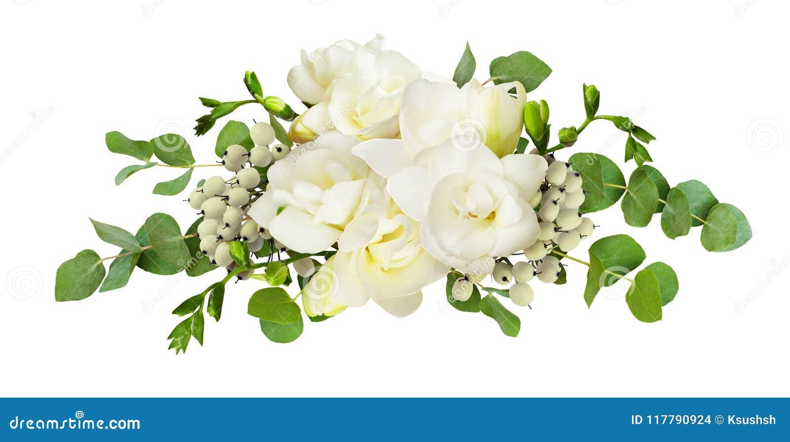 A frésia branca fresca floresce e o eucalipto sae no arranjo