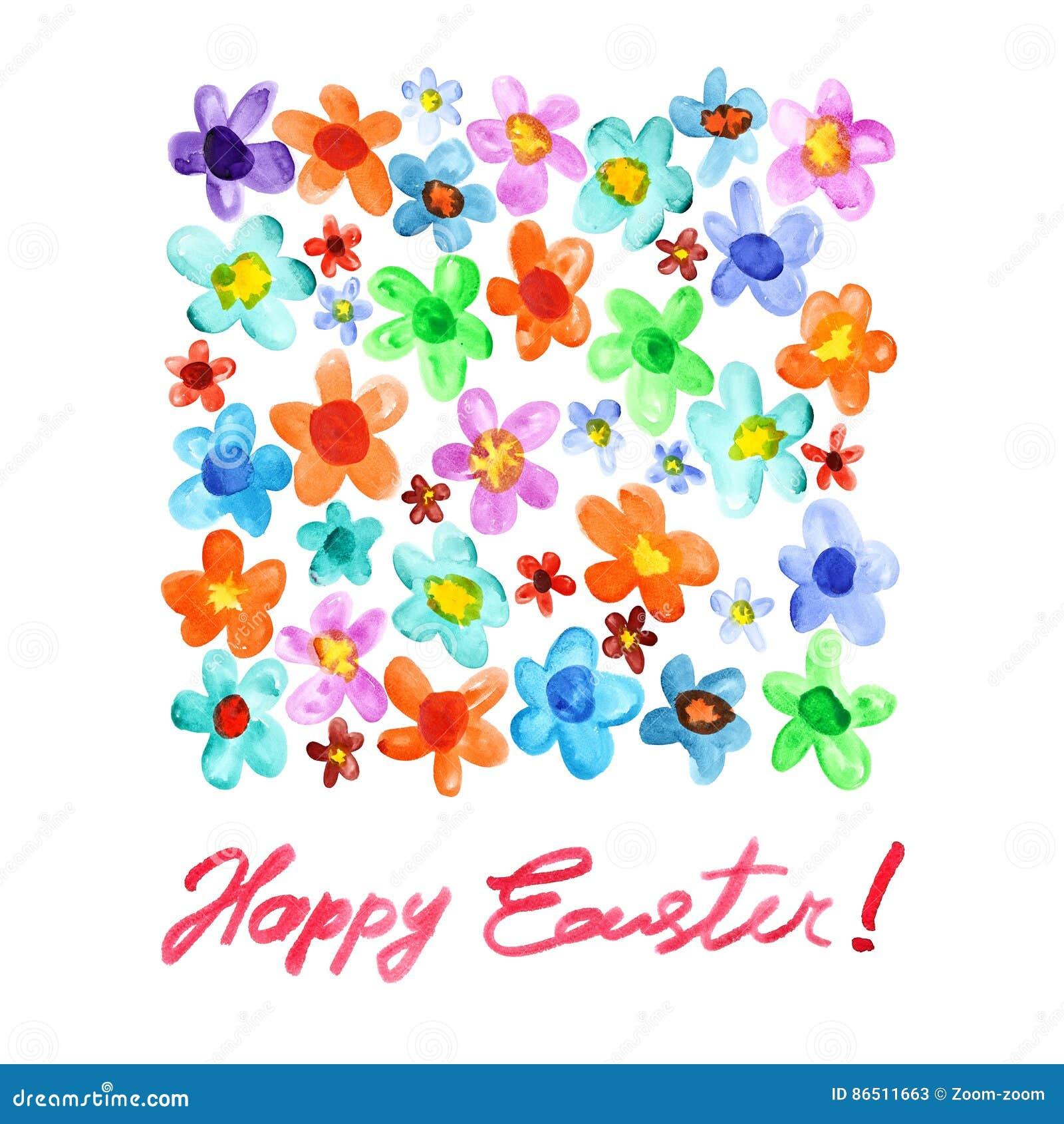 Fröhliche Ostern - Aquarellblumen