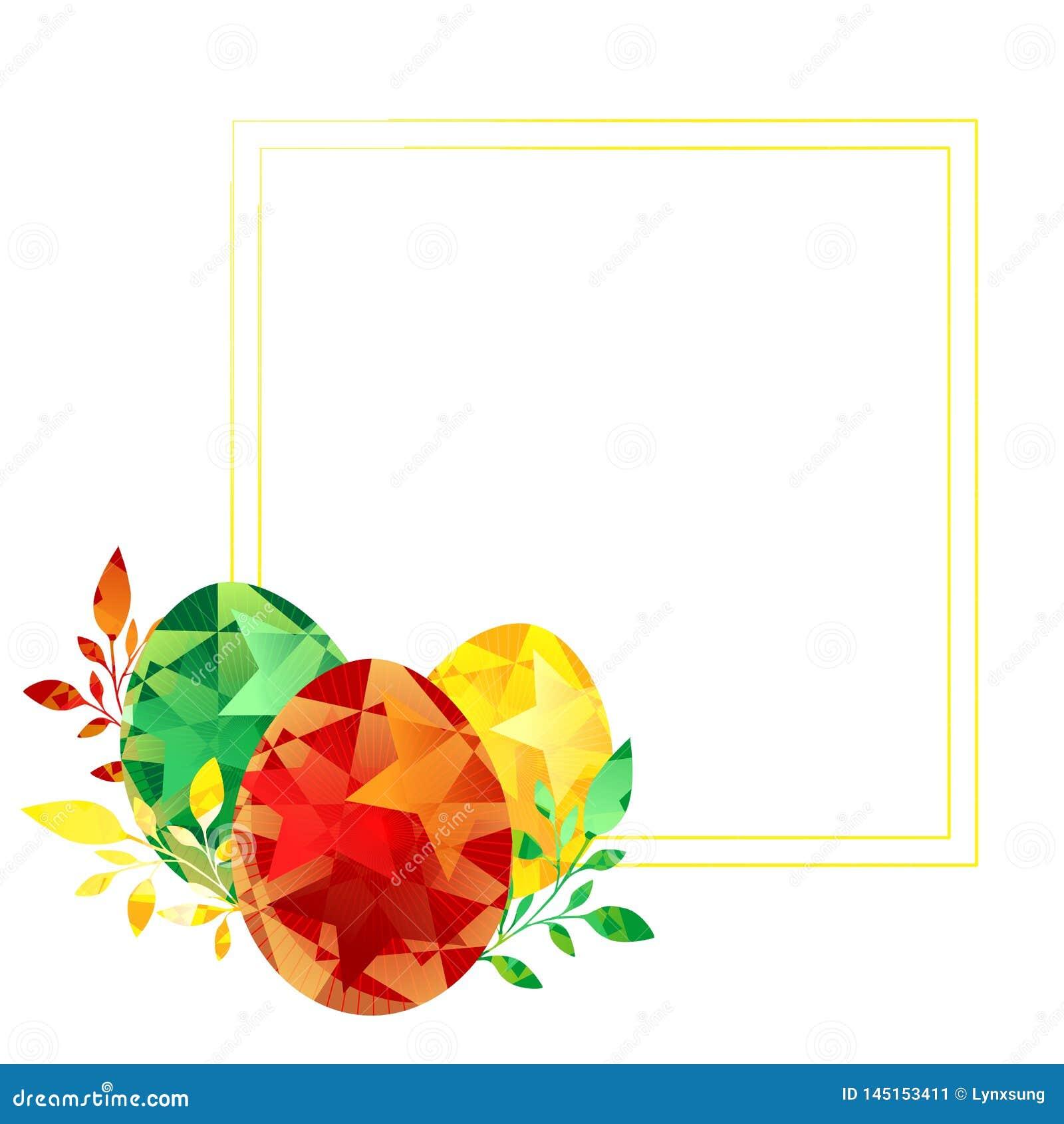Fröhliche Ostern malten Eier, Gelbgrün, das roter Rahmen für Grußkarten benutzt werden kann, Einladungen, Anzeige, Fahne, Fr