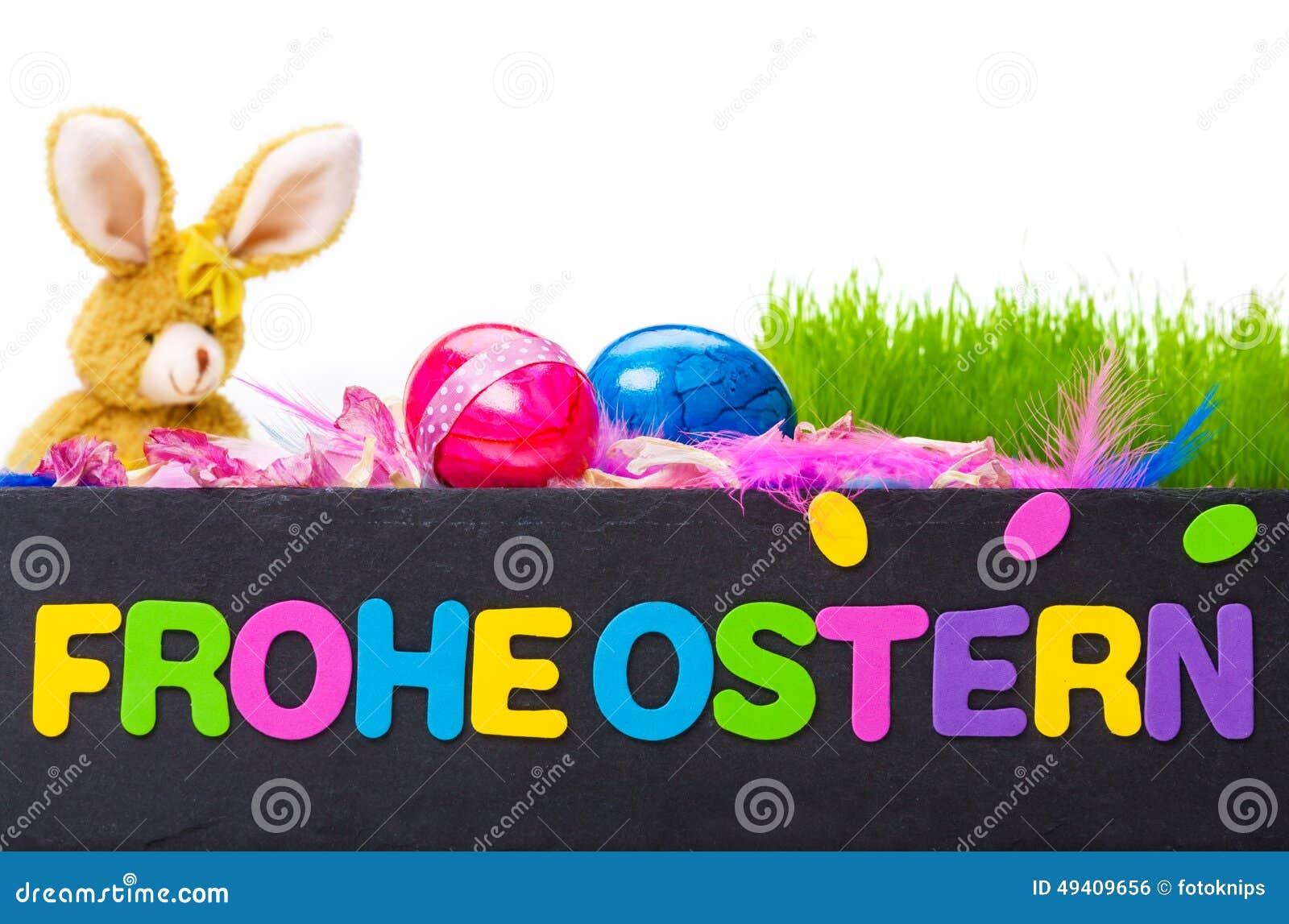 Download Fröhliche Ostern, Ostern-Dekoration Stockfoto - Bild von karte, schiefer: 49409656