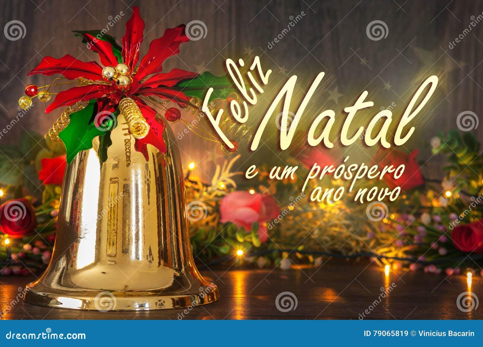 Fröhliche Weihnachtsbotschaft Auf Portugiesisch Bell, Flowes Und ...