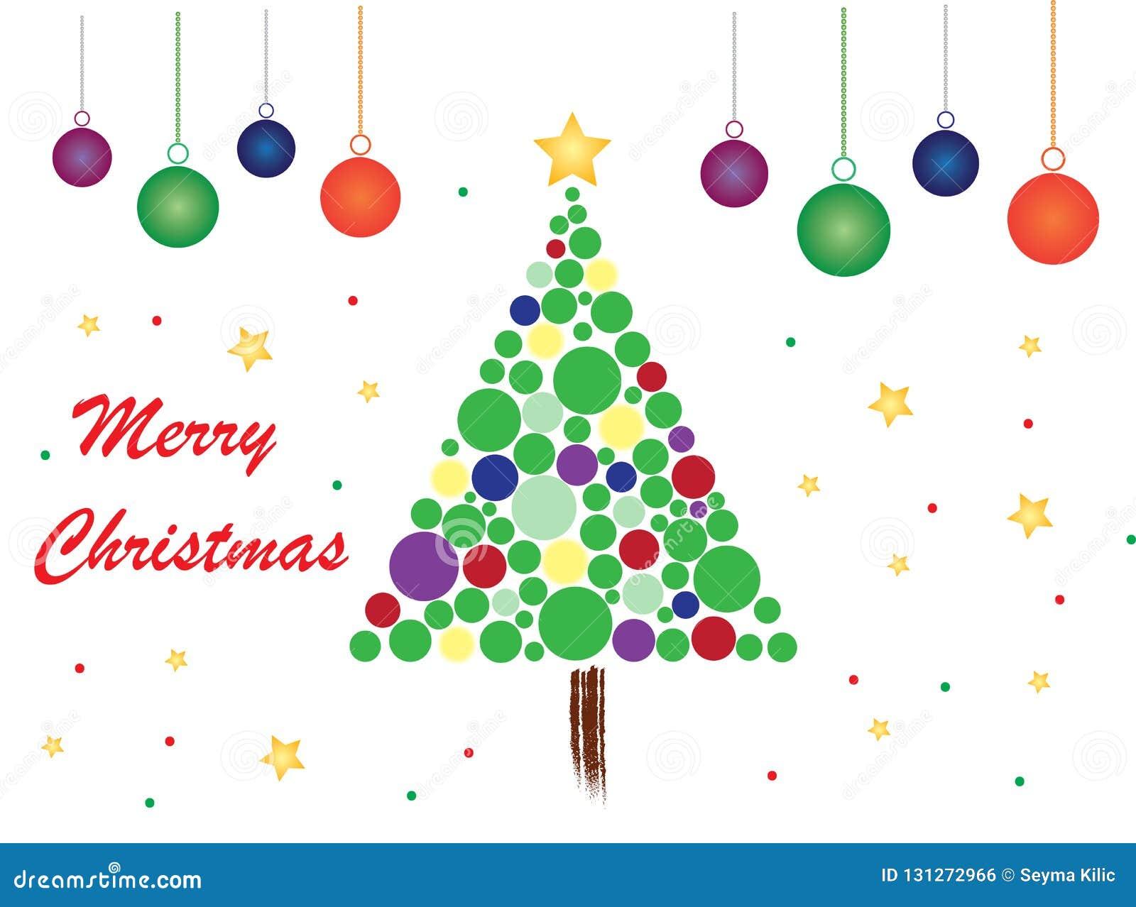 Fröhliches Weihnachtsmotiv mit weißem Hintergrund und Bällen