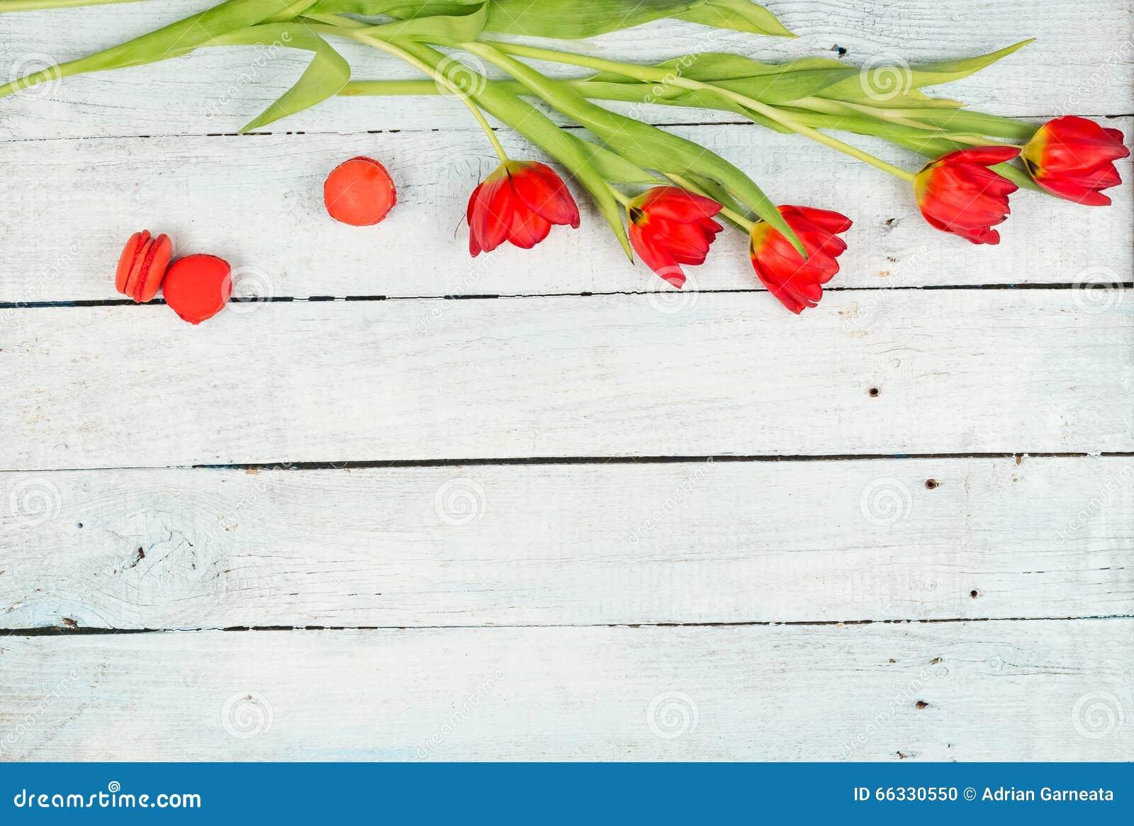 Frühling mit rotem Tulpenhintergrund