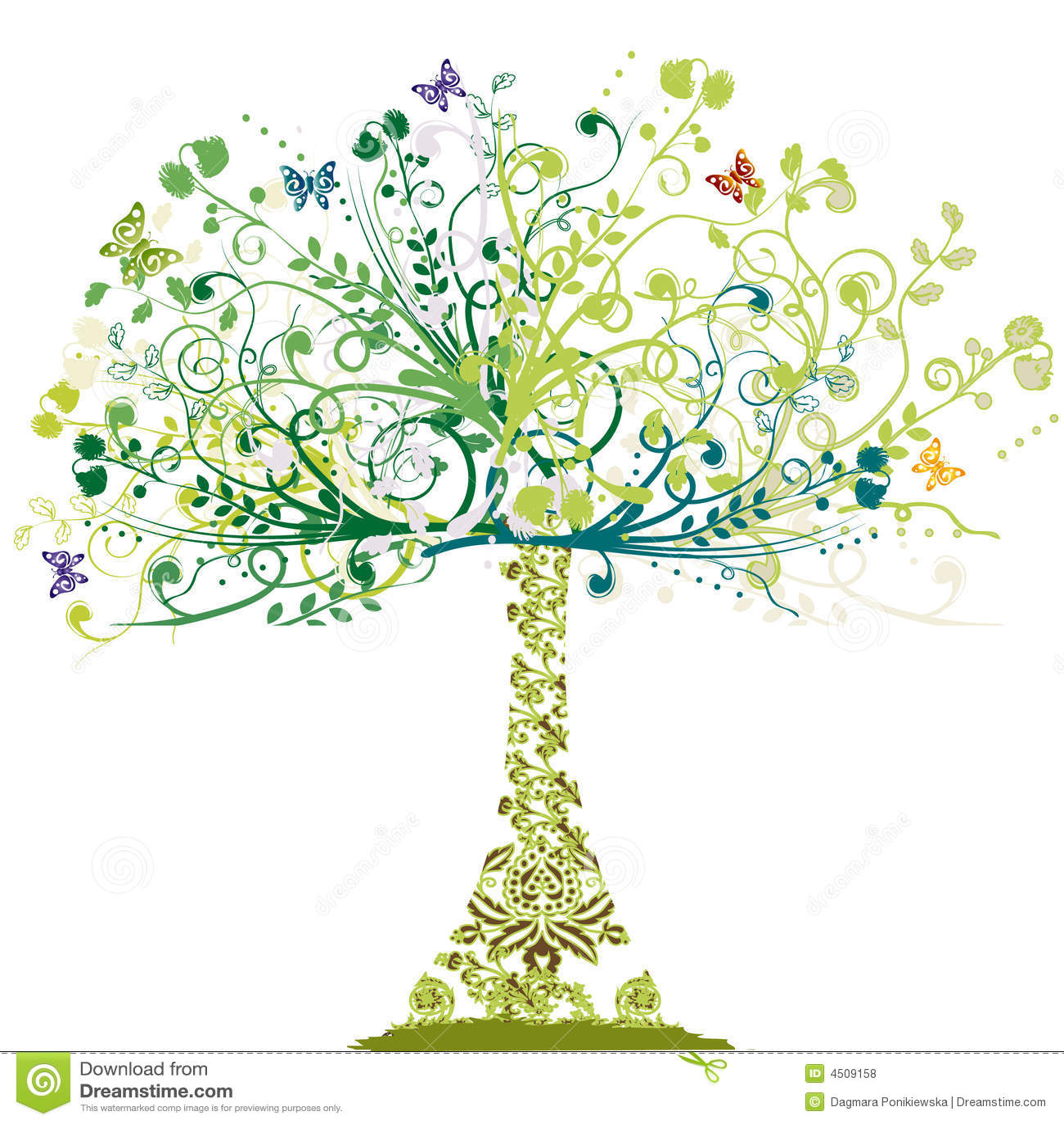 Frühlings-Baum - Blumenverzierung