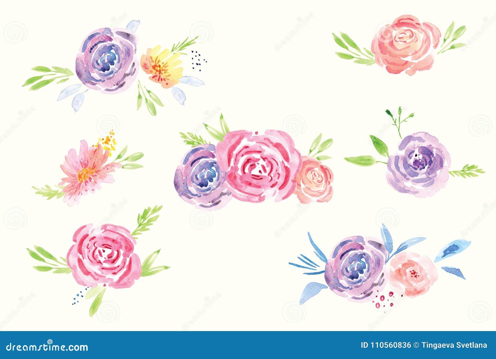 Frühlings Blumen Aquarell Clipart Stock Abbildung Illustration Von