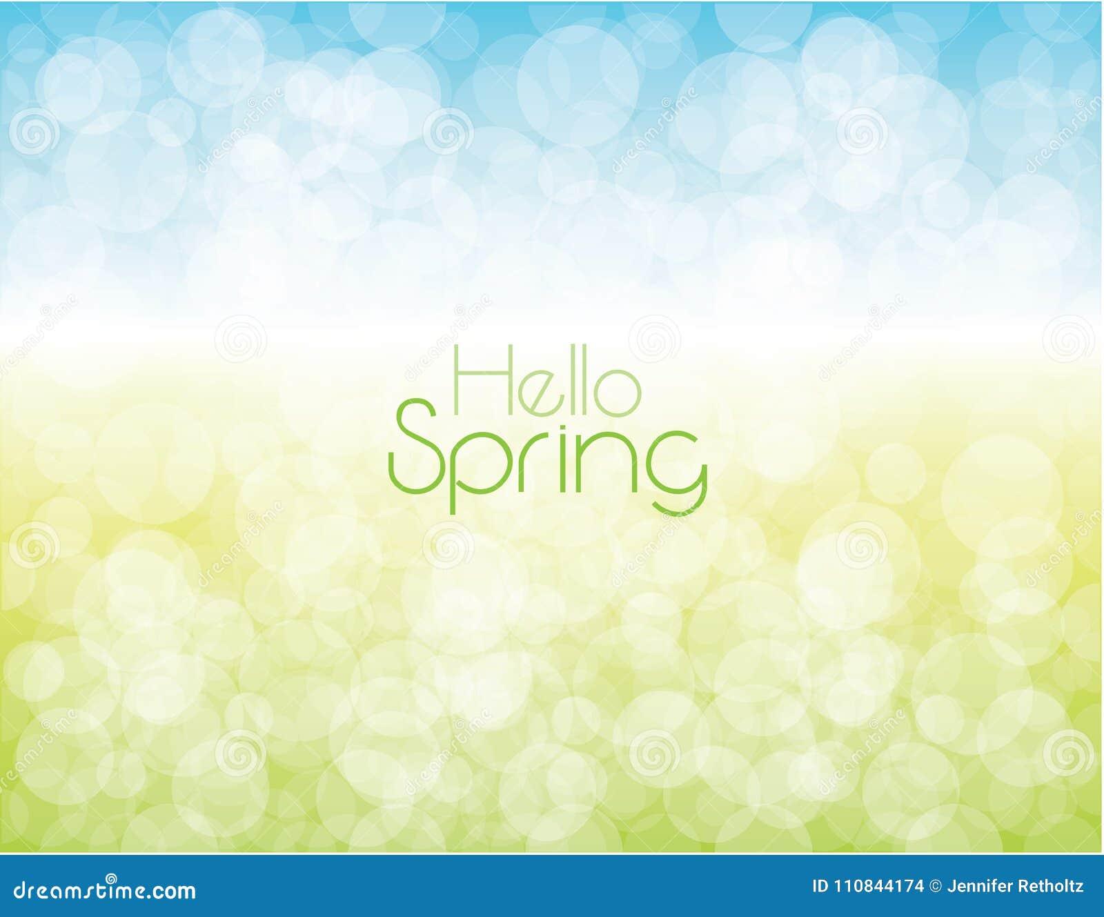 Frühlings-Hintergrund-Himmel-und Gras-Blasen-helles Gespür
