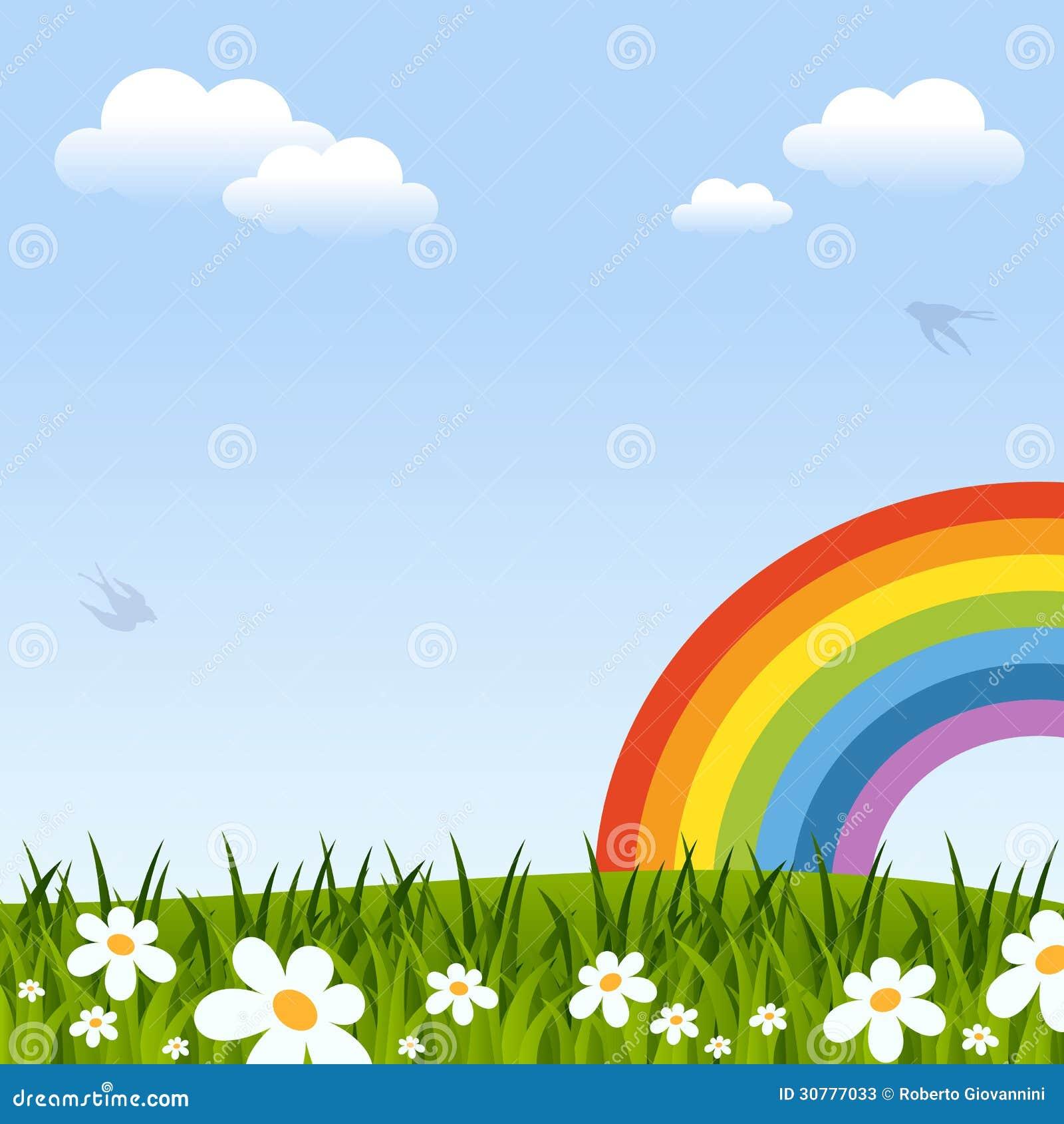 Frühlings-Hintergrund mit Regenbogen