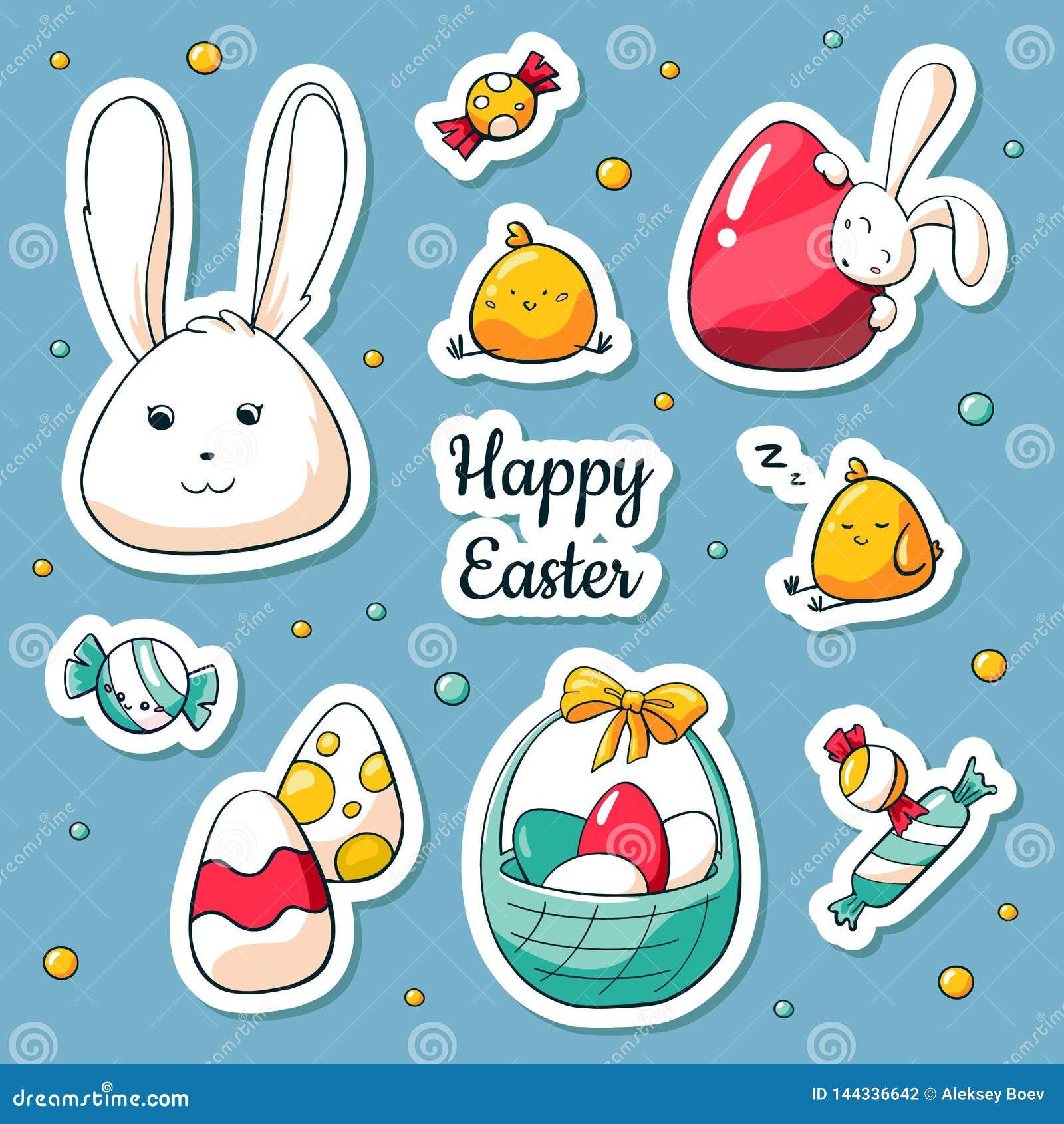 Frühlings-Ostern-Aufkleber eingestellt in Karikaturart Vektorillustration in der Gekritzelart Sammlung glückliche Ostern-Symbole