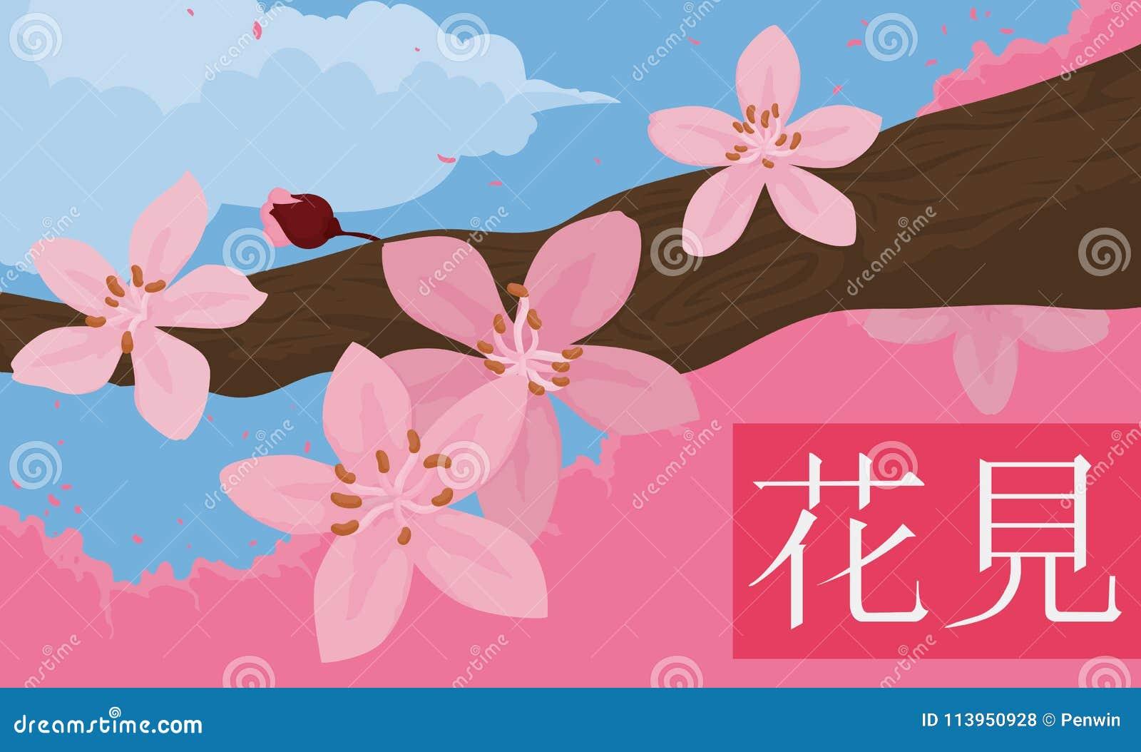 Frühlings-szenische Ansicht von Cherry Flowers in der Niederlassung in Hanami, Vektor-Illustration