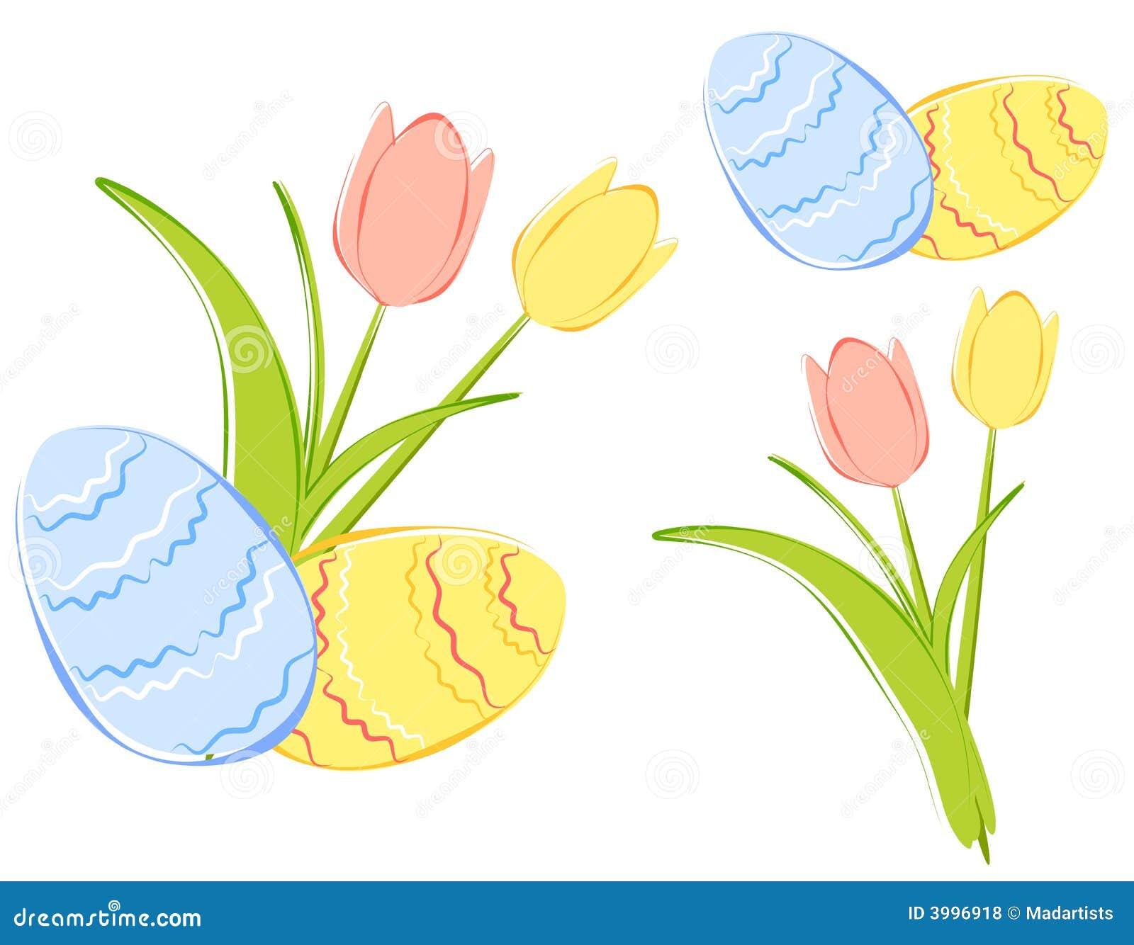 Frühlings Tulpen Und Ostereier Clipart Stock Abbildung