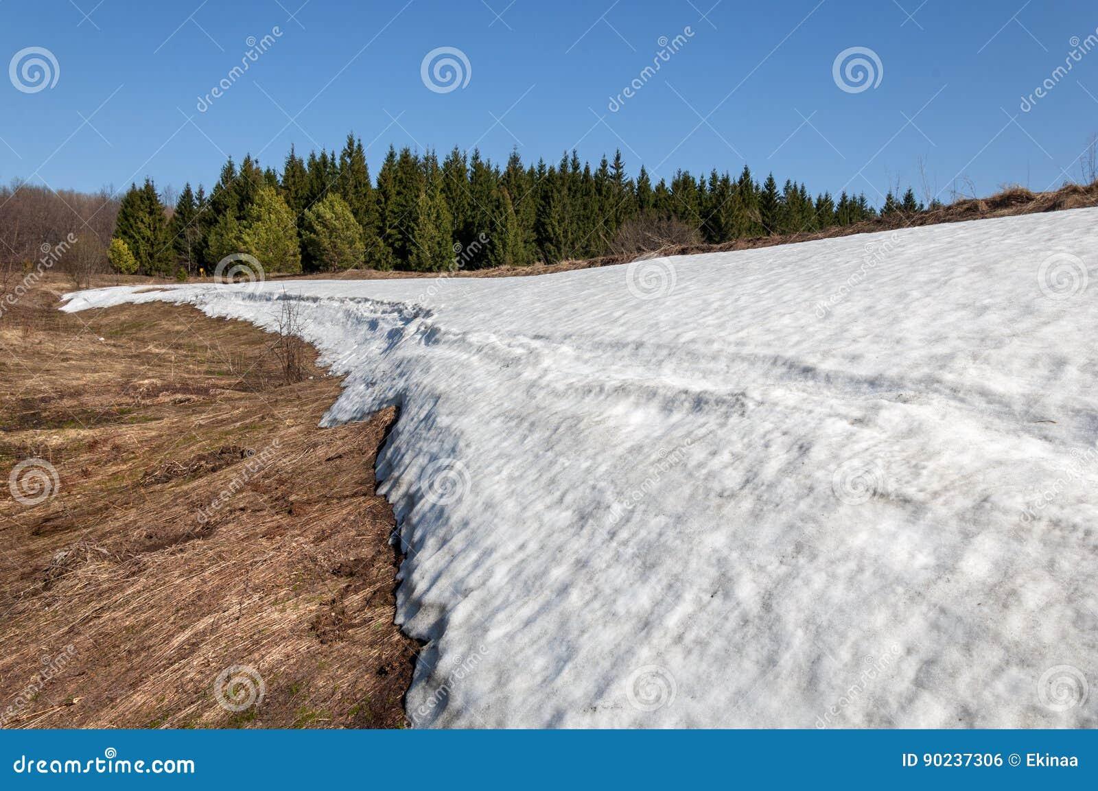 Frühlingslandschaft, der letzte Schnee in abgelegenen Plätzen Heller Sonnenschein m