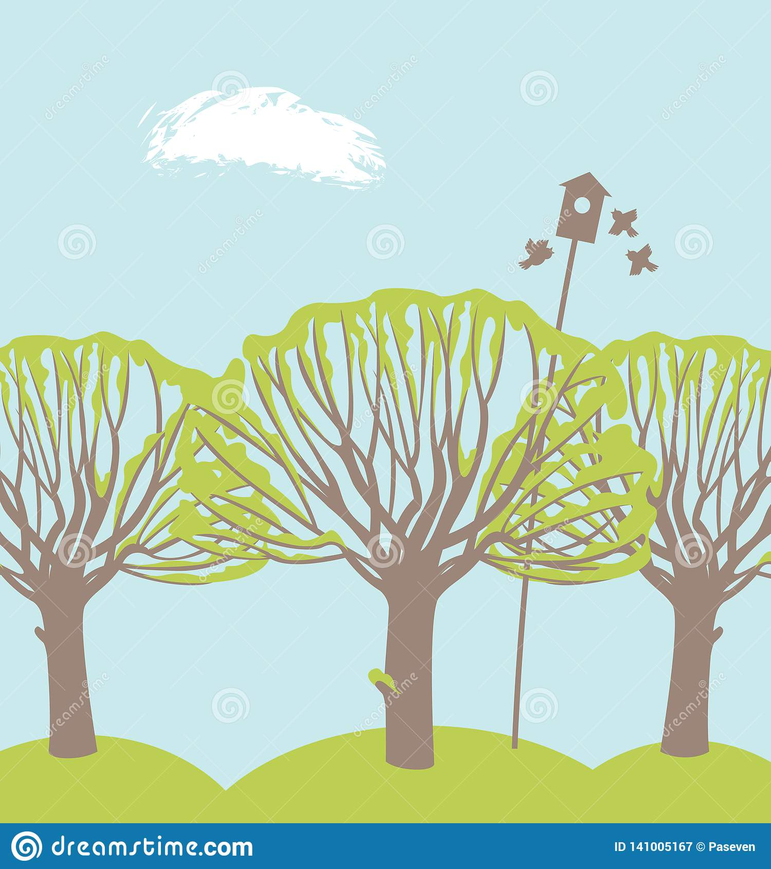 Frühlingslandschaft mit Bäumen, Vögeln und Vogelhaus