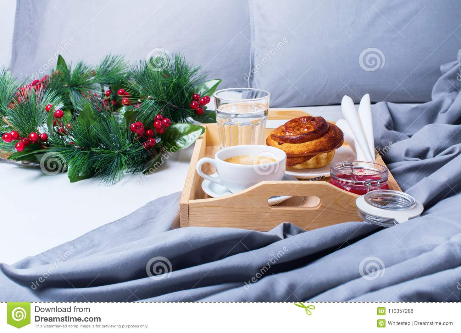 Frühstücks-Bett-Tray Coffee Bun Grey Early-Morgen