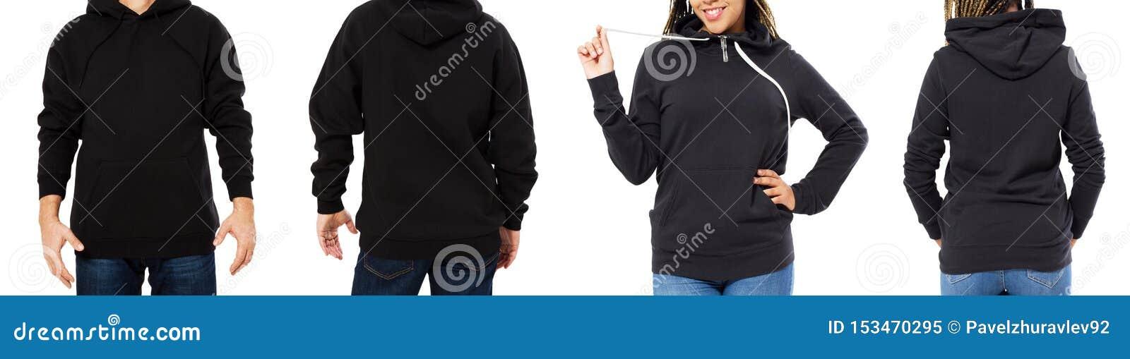 Fr?mre baksida och bakre svart tr?jasikt Härlig svart kvinnlig och manlig kropp i mallkläder för tryck- och kopieringsutrymme
