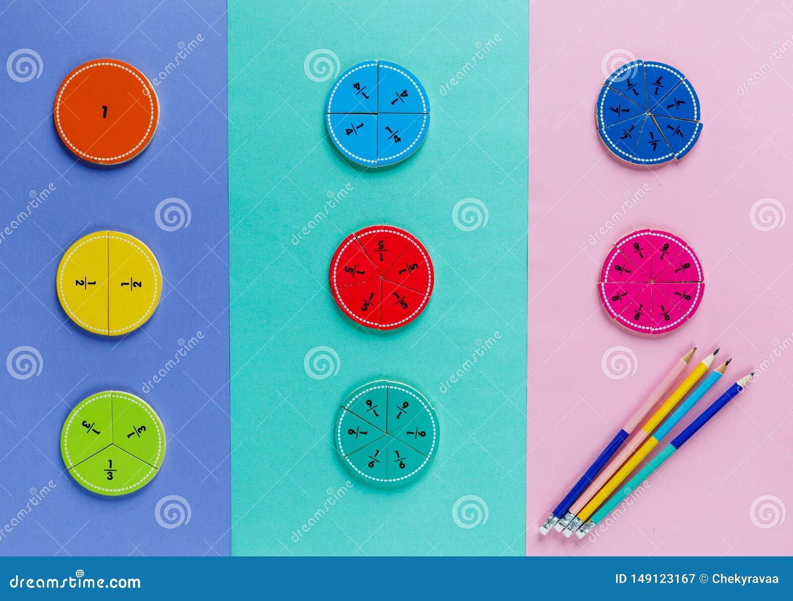 Fra??es coloridas da matem?tica nos fundos brilhantes da violeta azul cor-de-rosa matem?tica interessante para crian?as Educa??o,